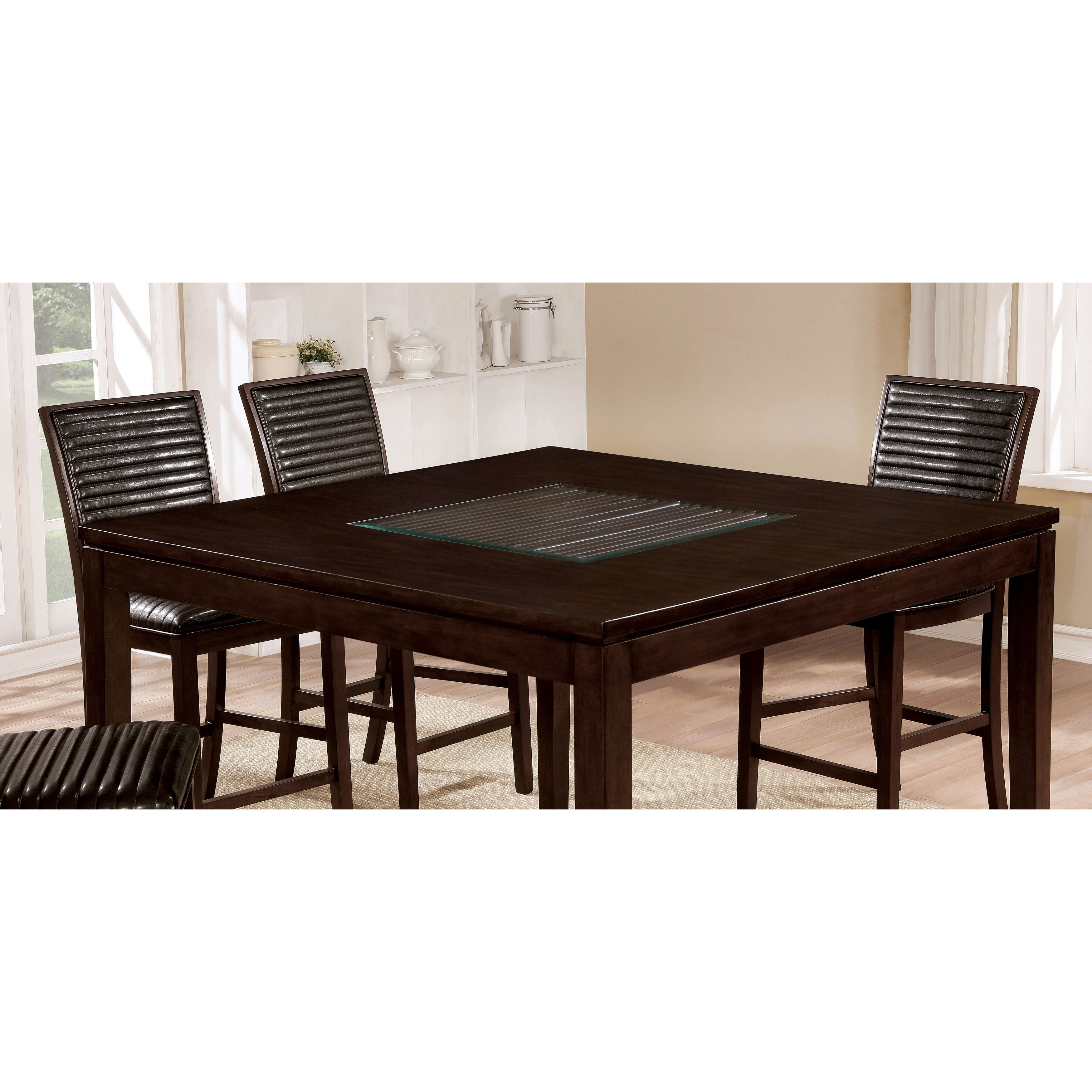 Shop Furniture Of America Gileon Walnut Wood And Faux Leather 7 Pertaining To Best And Newest Leon 7 Piece Dining Sets (View 15 of 20)