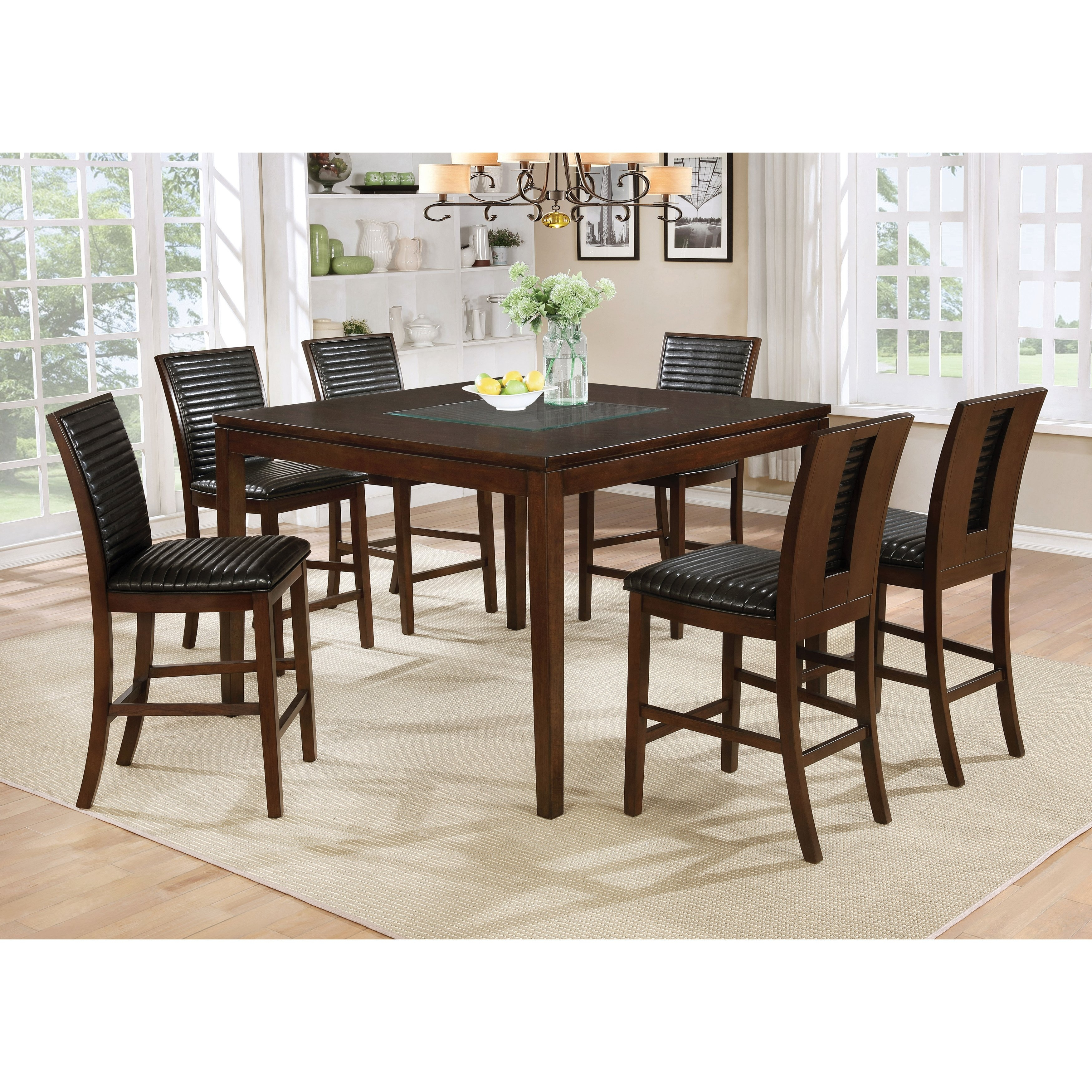 Shop Furniture Of America Gileon Walnut Wood And Faux Leather 7 Throughout 2017 Leon 7 Piece Dining Sets (View 6 of 20)