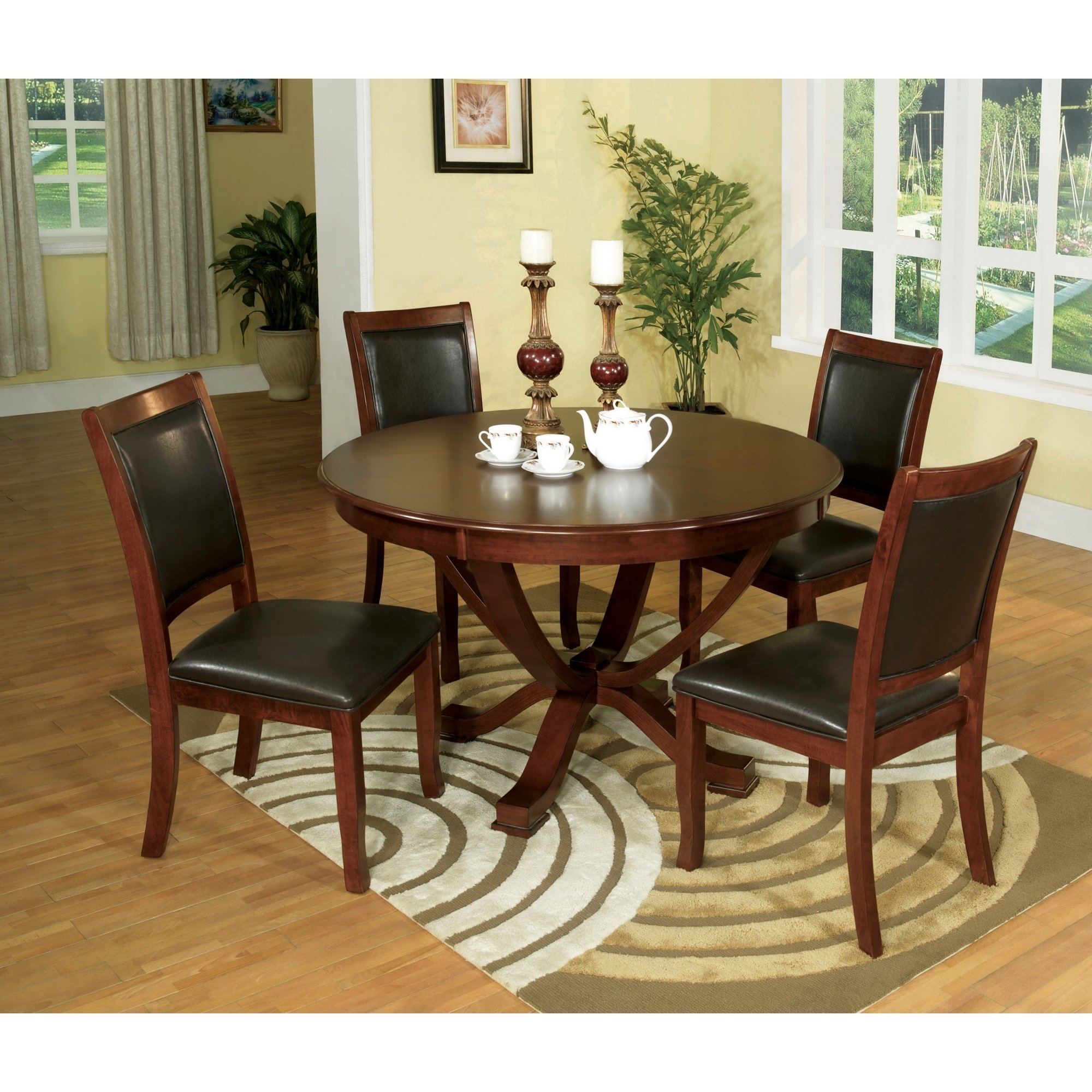Shop Furniture Of America Kristen 5 Piece Brown Cherry Dining Set Regarding Most Recent Kirsten 5 Piece Dining Sets (Image 20 of 20)