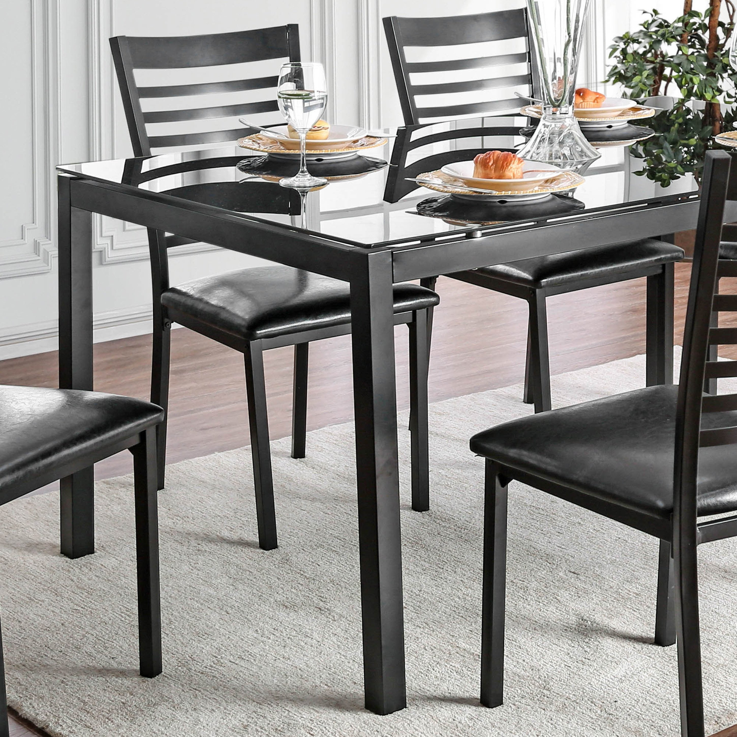 Shop Furniture Of America Parker 60 Inch Metal Glass Top Dining Intended For 2017 Ina Matte Black 60 Inch Counter Tables With Frosted Glass (Image 11 of 20)