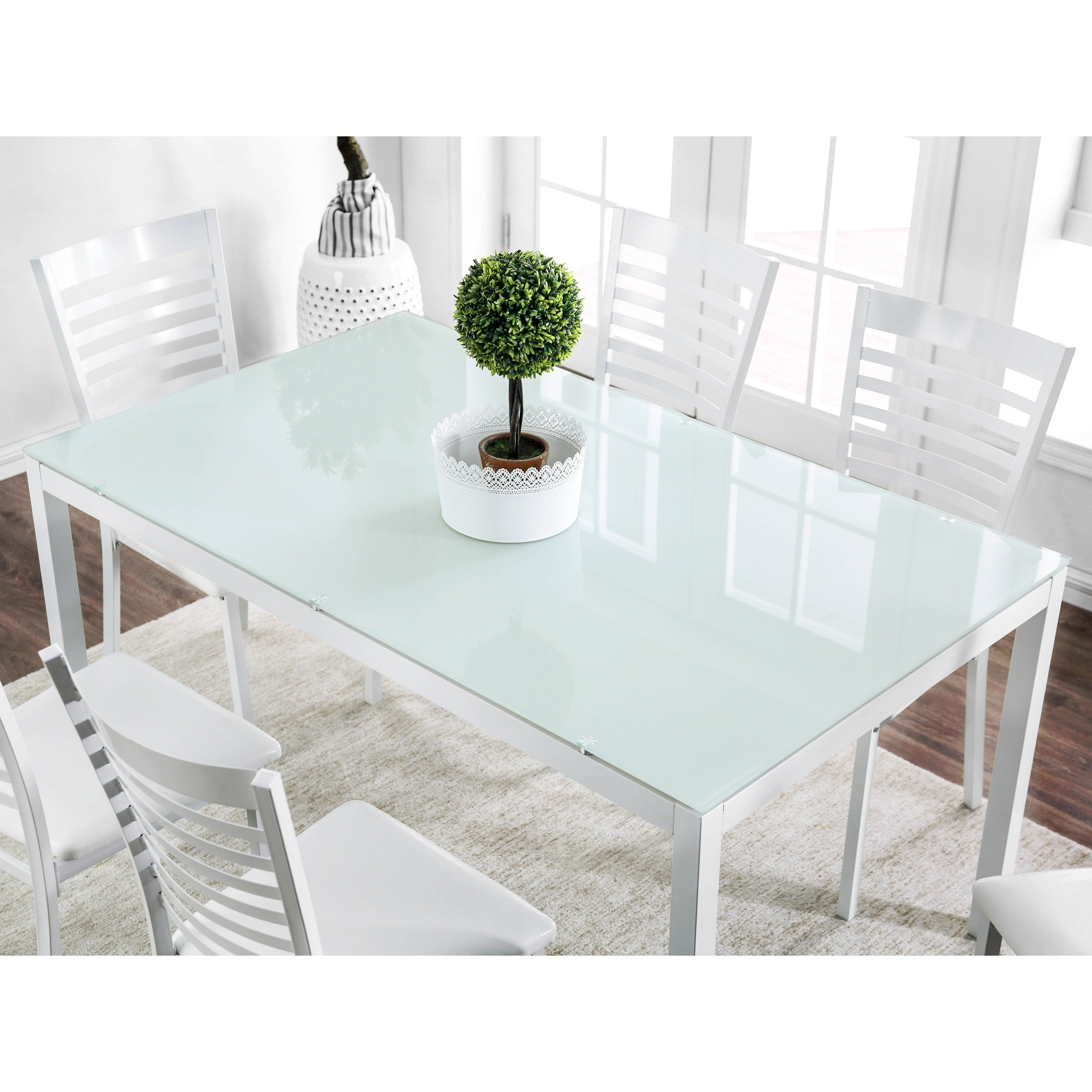 Shop Furniture Of America Parker 60 Inch Metal Glass Top Dining Regarding Most Recent Ina Matte Black 60 Inch Counter Tables With Frosted Glass (View 10 of 20)