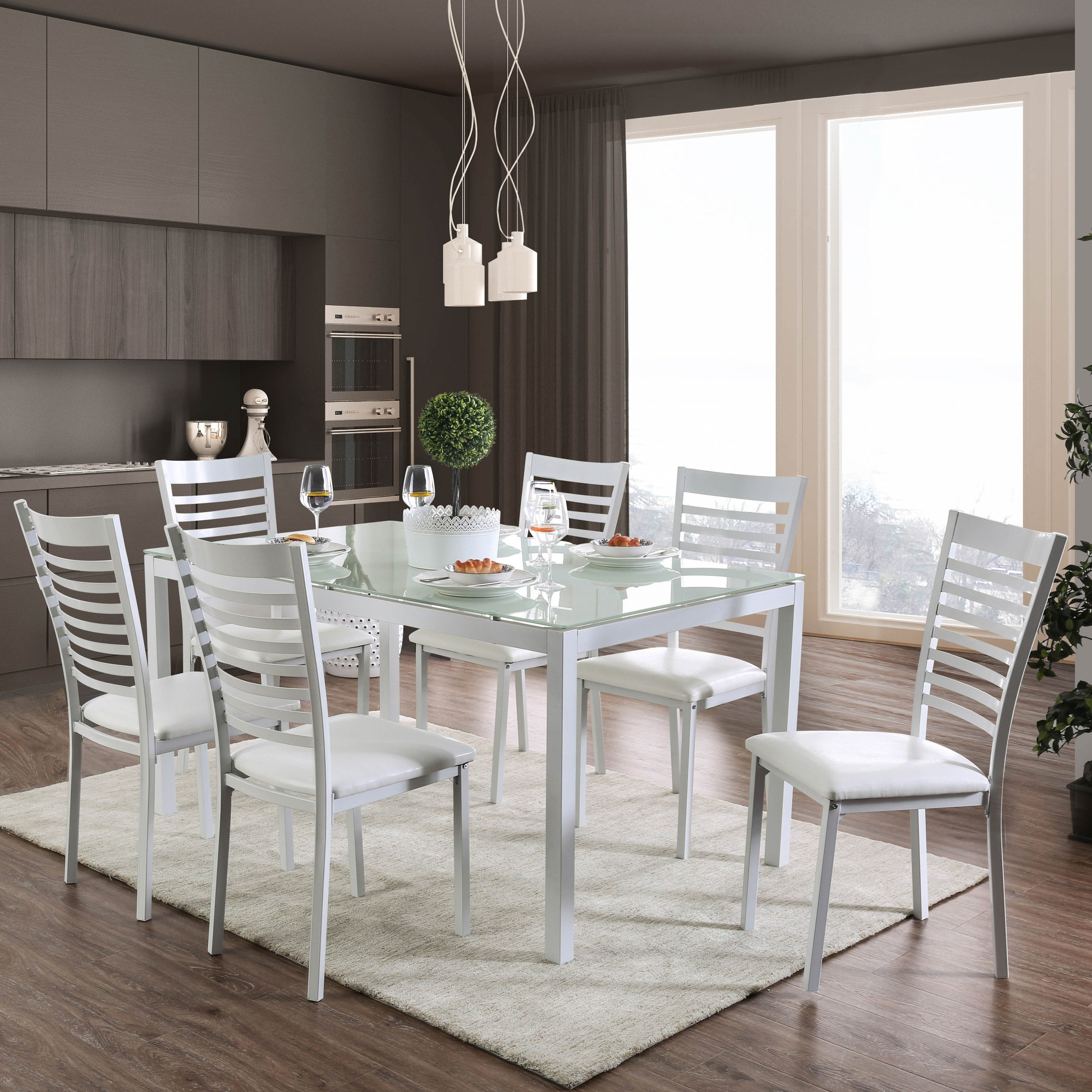Shop Furniture Of America Parker 60 Inch Metal Glass Top Dining Throughout Most Up To Date Ina Matte Black 60 Inch Counter Tables With Frosted Glass (View 12 of 20)