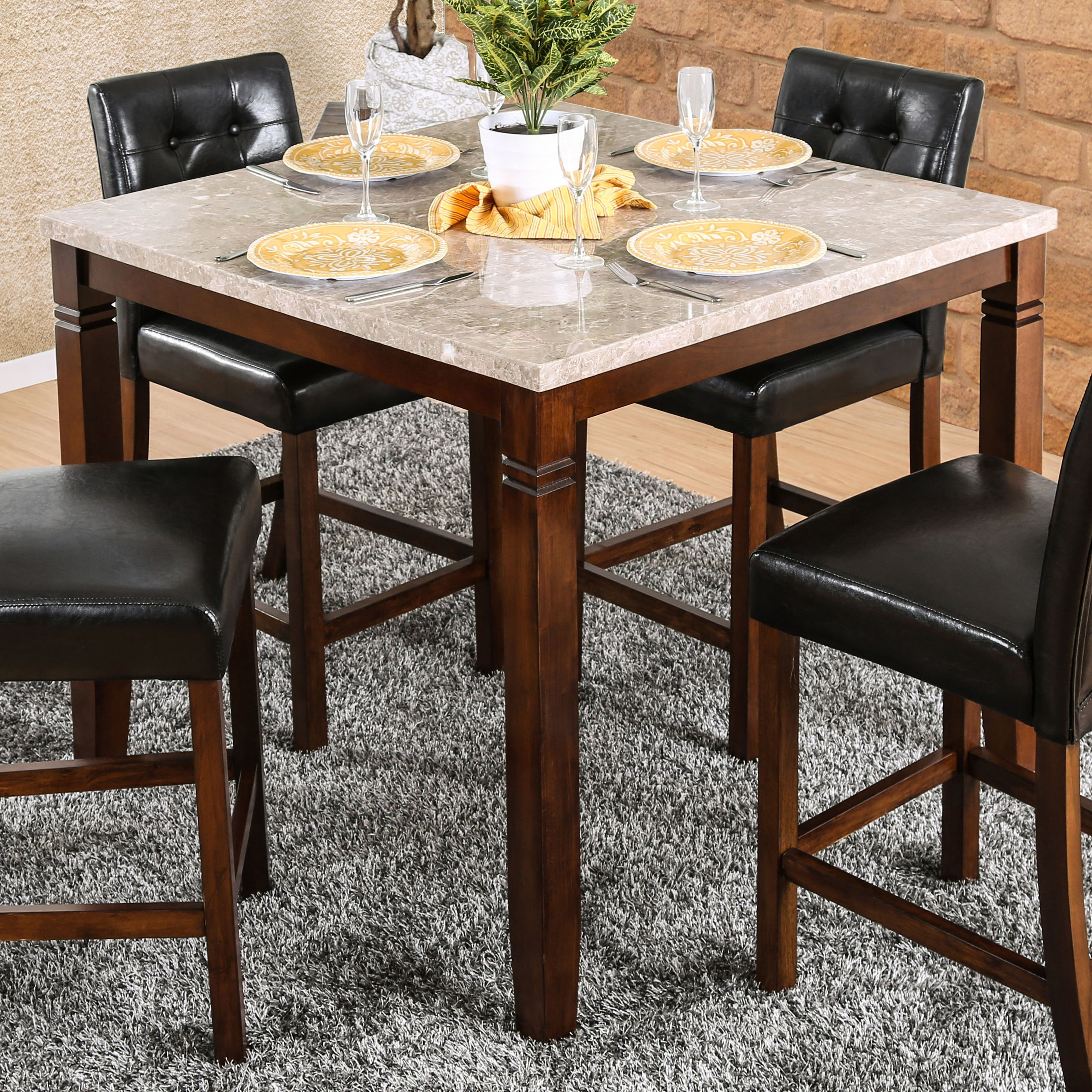 Shop Furniture Of America Terese Genuine Marble Top 42 Inch Brown Regarding 2017 Ina Matte Black 60 Inch Counter Tables With Frosted Glass (Image 14 of 20)