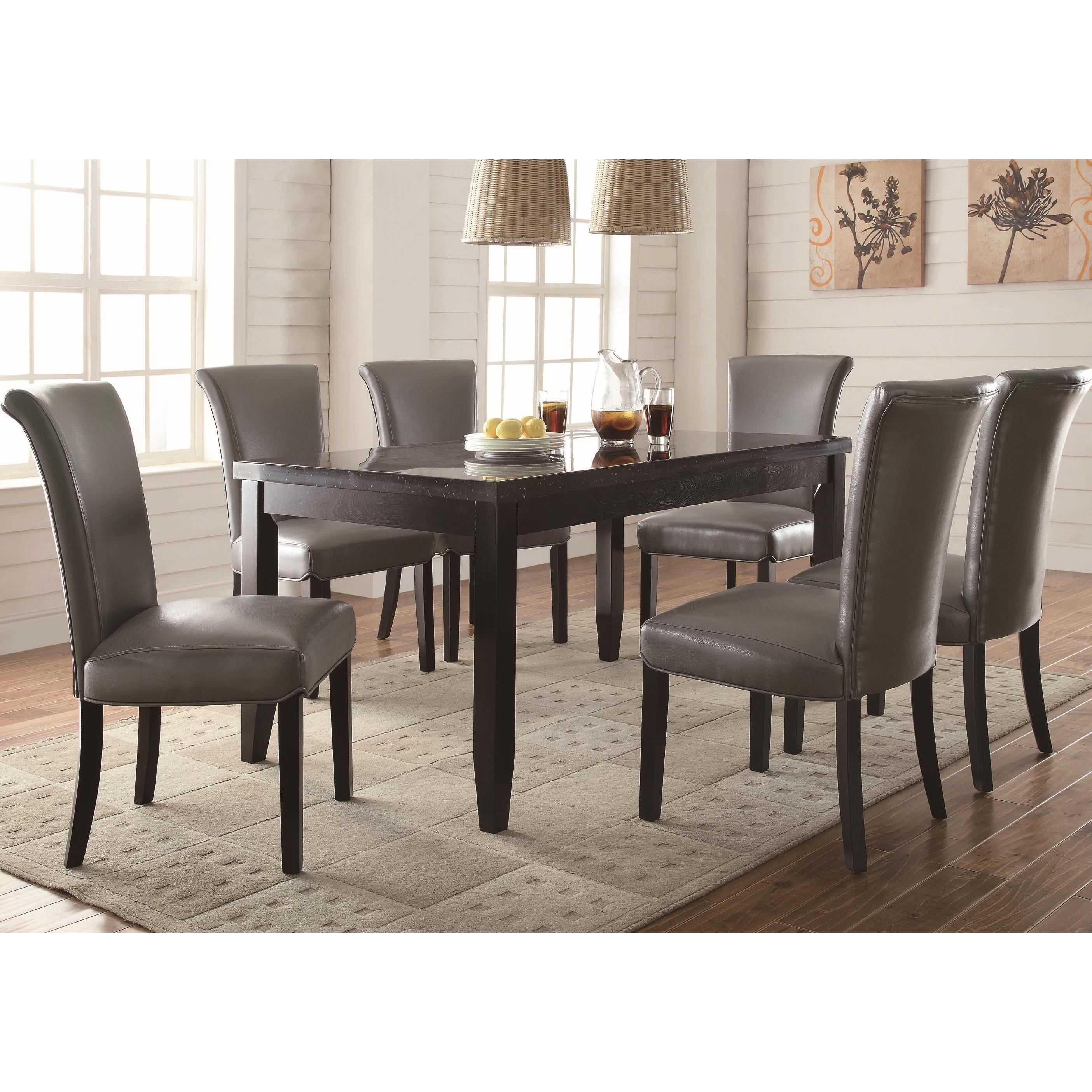 Shop Gun Metal 7 Piece Dining Set – Free Shipping Today – Overstock Inside Most Recent Gavin 7 Piece Dining Sets With Clint Side Chairs (Image 17 of 20)