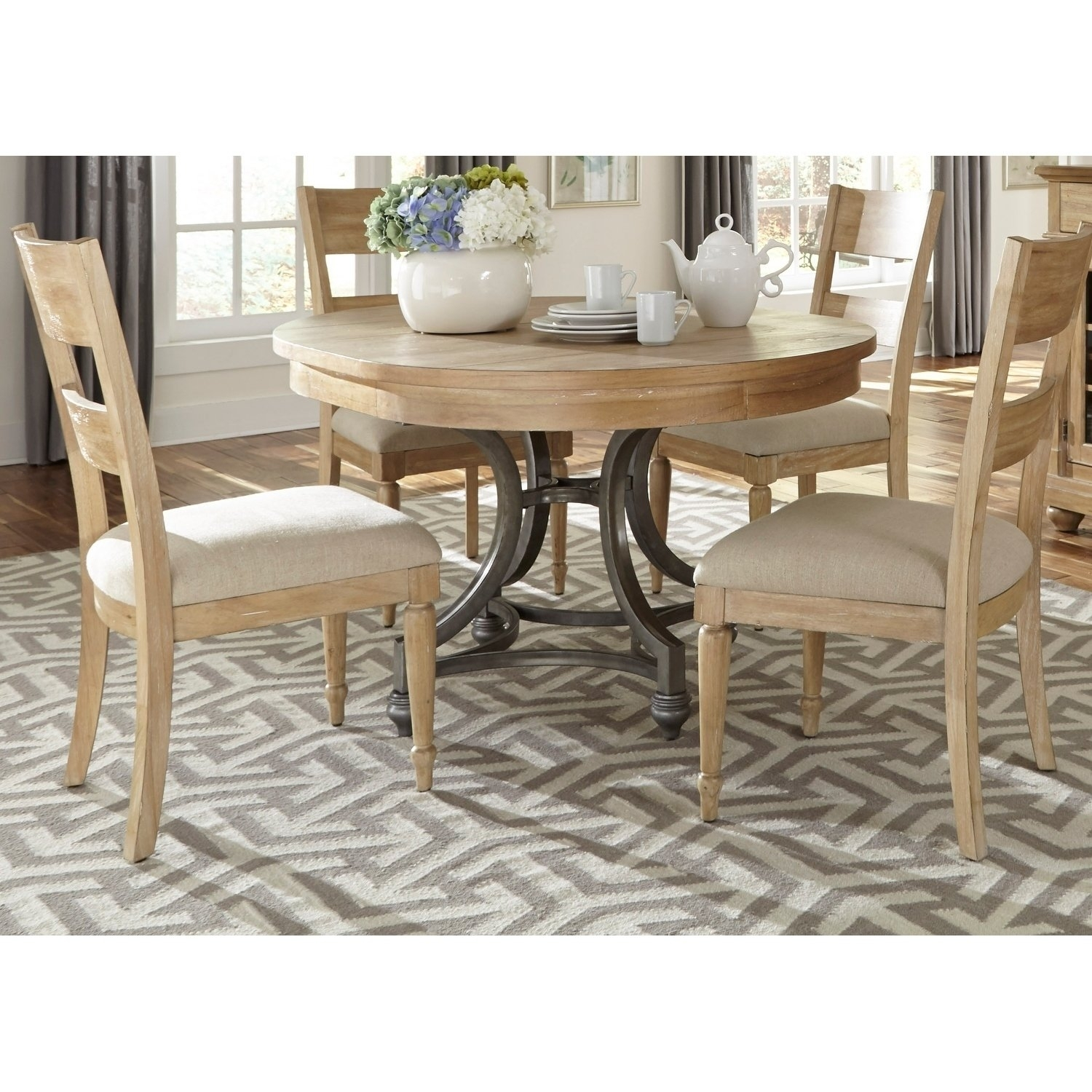 Shop Harbor View Sand 5 Piece Round Table Set – On Sale – Free With Regard To Recent Jaxon 5 Piece Extension Counter Sets With Fabric Stools (Image 17 of 20)