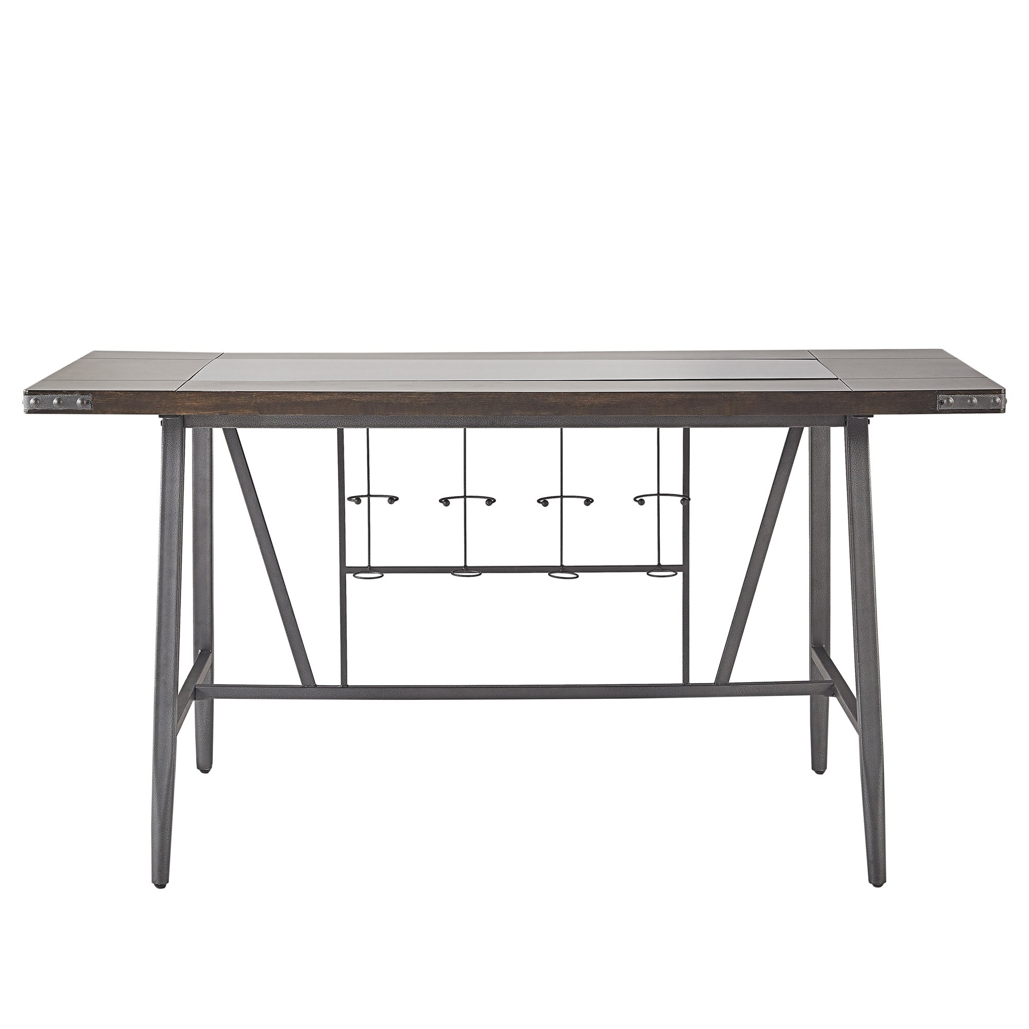 Shop Harley Counter Height Dining Table With Wine Rackinspire Q In Most Current Ina Matte Black 60 Inch Counter Tables With Frosted Glass (Image 15 of 20)