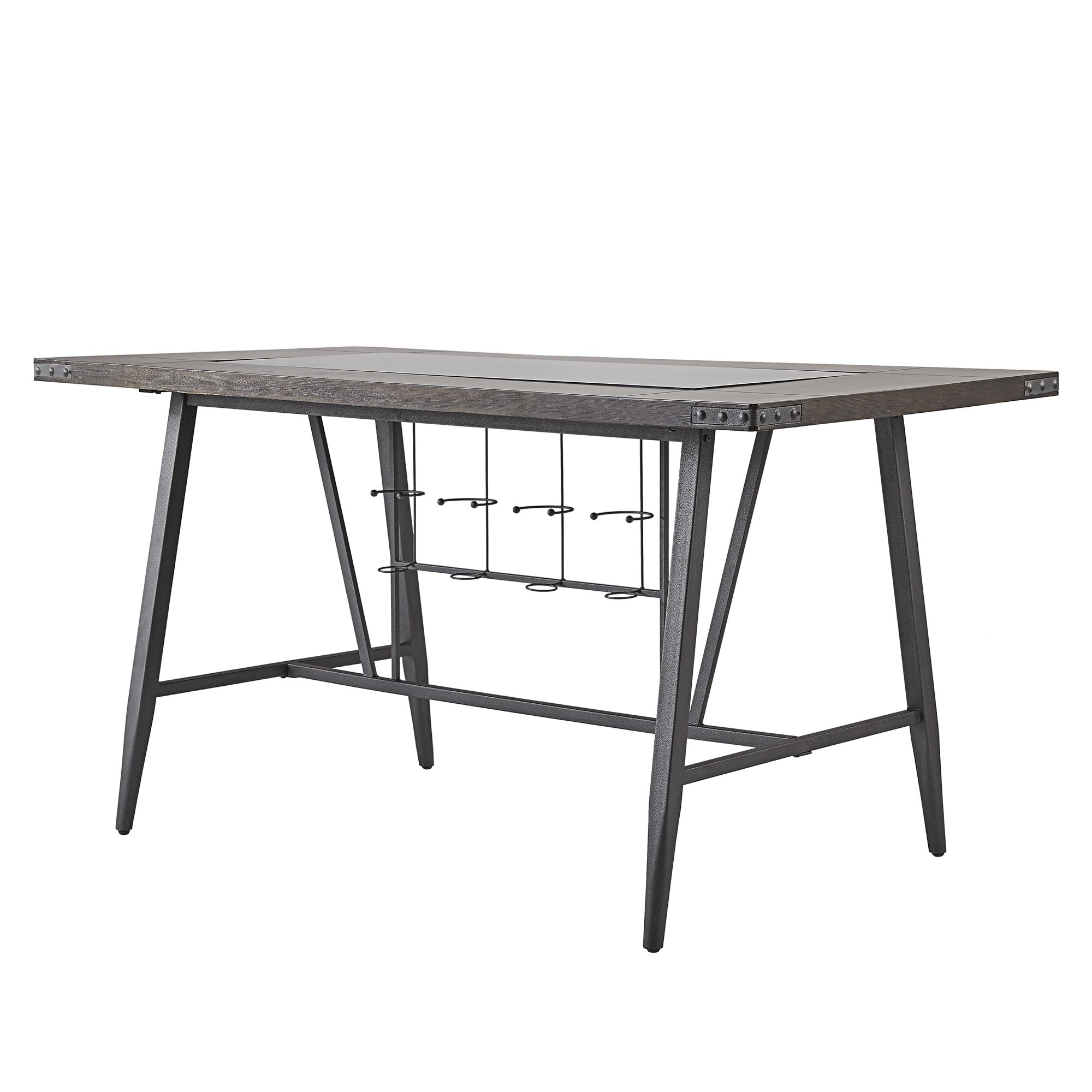 Shop Harley Counter Height Dining Table With Wine Rackinspire Q Pertaining To Current Ina Matte Black 60 Inch Counter Tables With Frosted Glass (Image 17 of 20)
