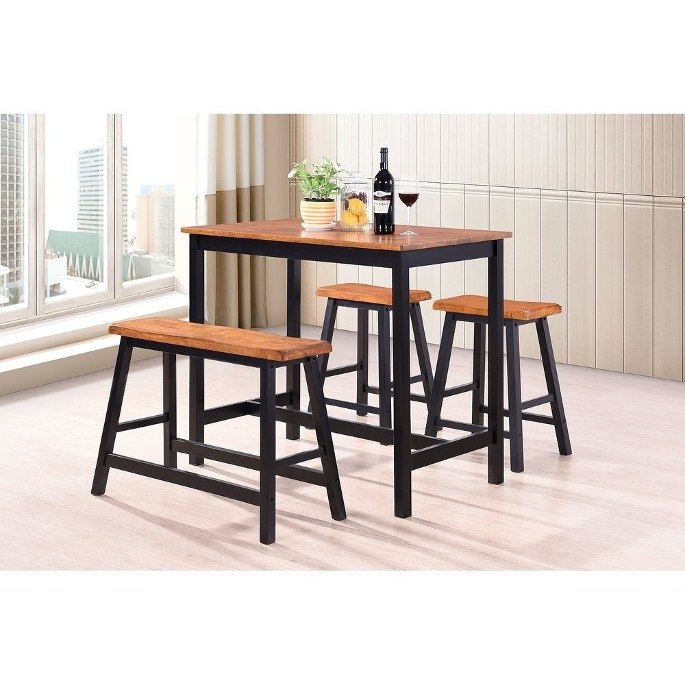 Shop Harper&bright Designs 4 Piece Wood Dining Set – Free Shipping Regarding Most Up To Date Harper 5 Piece Counter Sets (View 12 of 20)