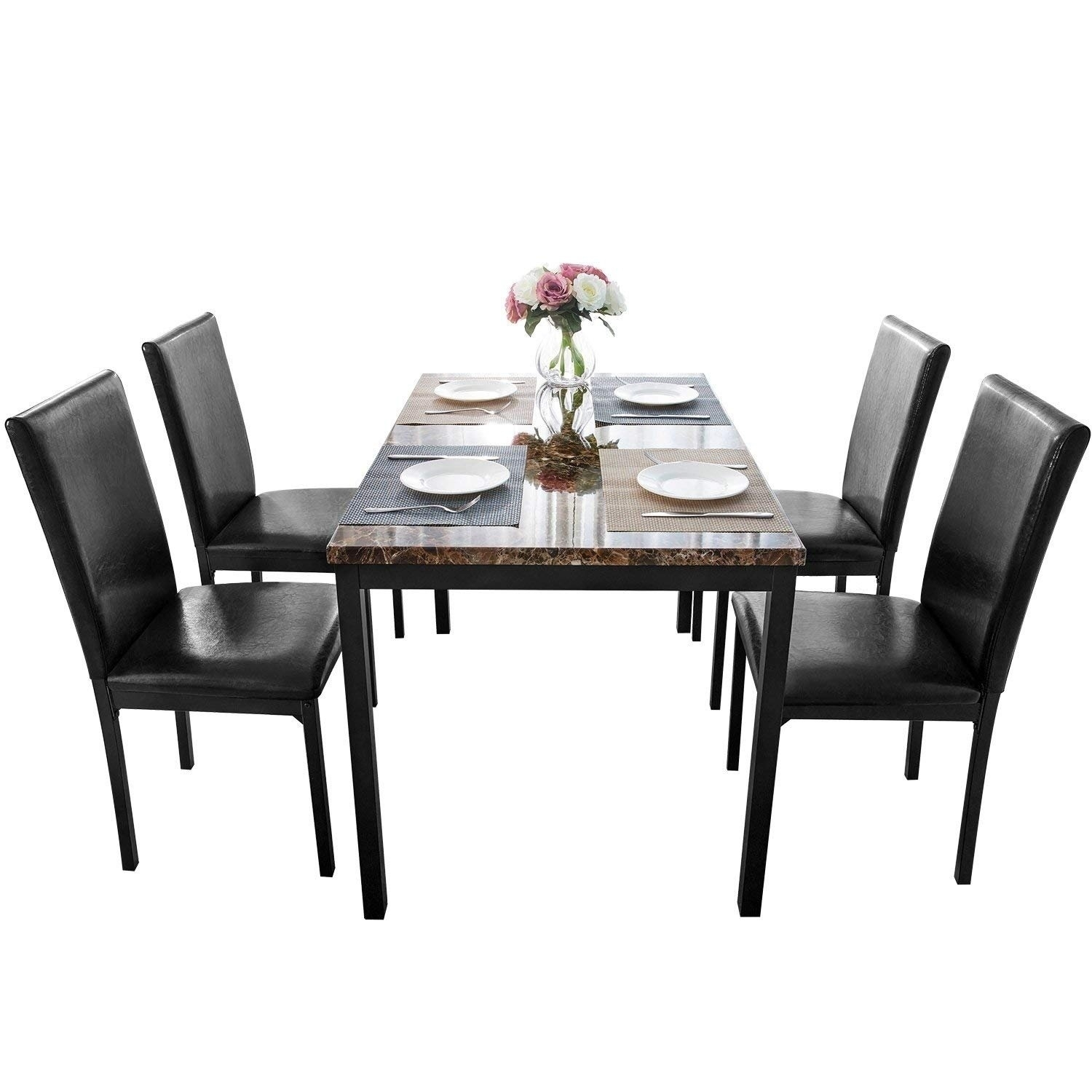 Shop Harper&bright Designs 5 Piece Faux Mable And Pu Leather Dining With Most Recently Released Harper 5 Piece Counter Sets (View 11 of 20)