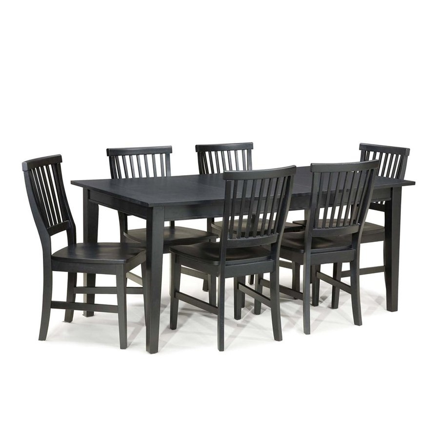 Shop Home Styles Arts & Crafts Ebony 7 Piece Dining Set With Dining With Most Current Craftsman 7 Piece Rectangle Extension Dining Sets With Side Chairs (View 8 of 20)