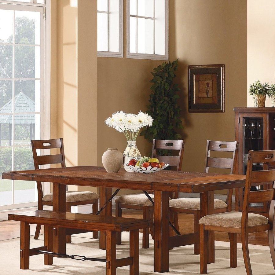Shop Homelegance Clayton Warm Burnished Brown Composite Extending Inside 2017 Valencia 72 Inch 6 Piece Dining Sets (View 7 of 20)