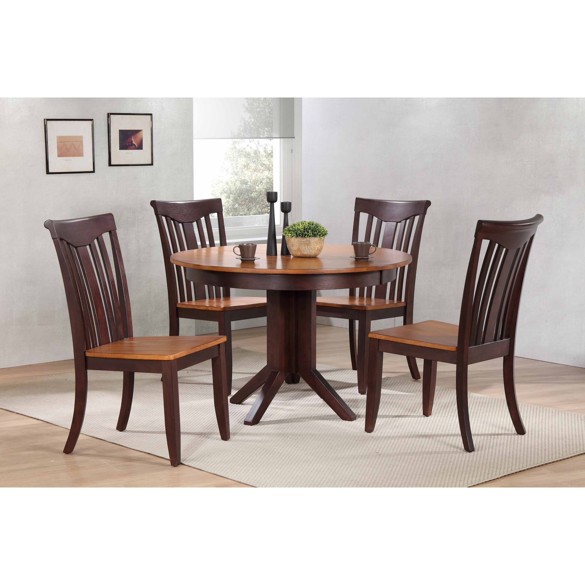 """Shop Iconic Furniture Company 45""""x45""""x63"""" Contemporary Whiskey/mocha For Most Up To Date Caden 6 Piece Dining Sets With Upholstered Side Chair (View 16 of 20)"""
