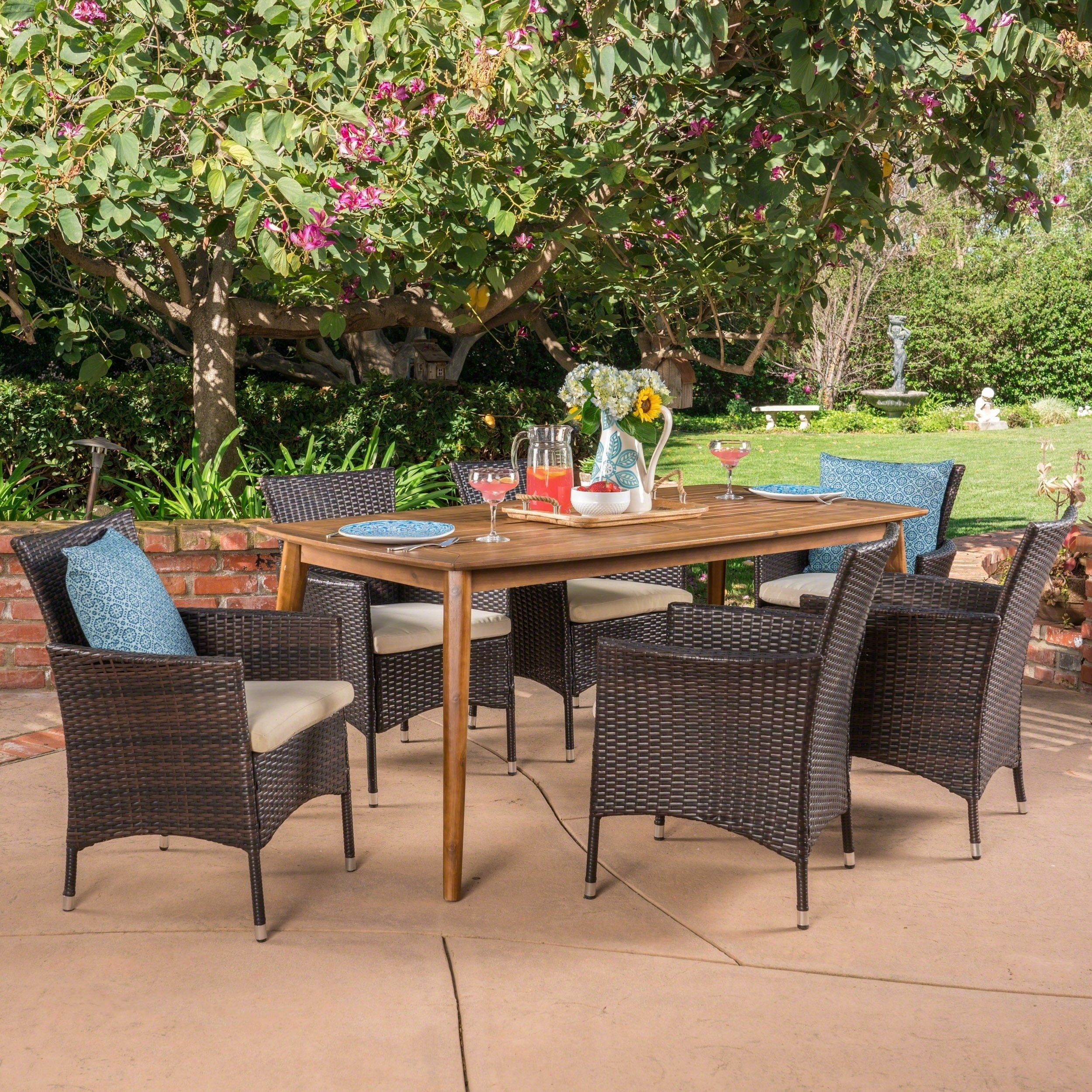 Shop Jaxon Outdoor 7 Piece Multibrown Pe Wicker Dining Set With For Latest Jaxon Grey 6 Piece Rectangle Extension Dining Sets With Bench & Uph Chairs (Image 17 of 20)