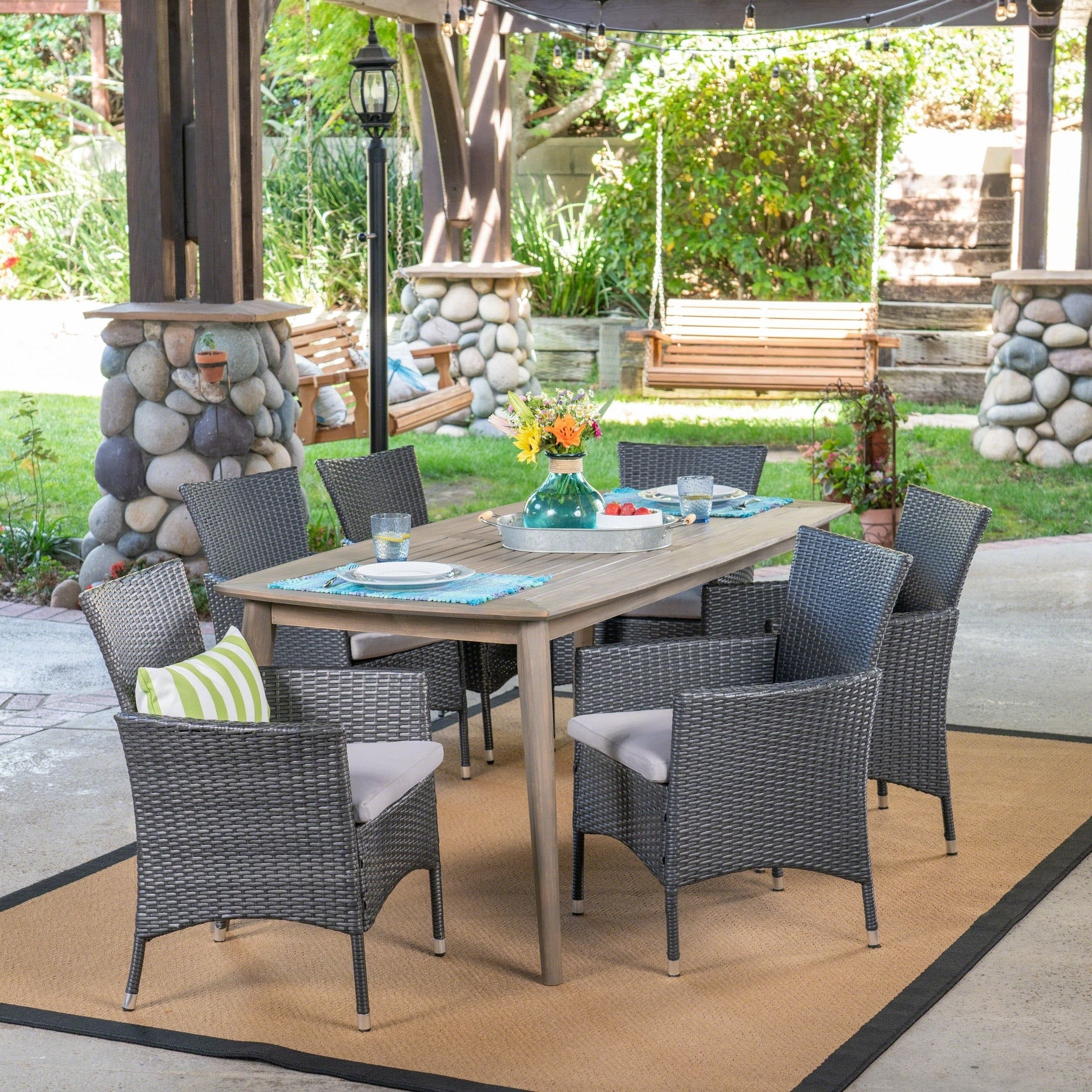 Shop Jaxon Outdoor 7 Piece Multibrown Pe Wicker Dining Set With Pertaining To Latest Jaxon Grey 7 Piece Rectangle Extension Dining Sets With Wood Chairs (Image 19 of 20)