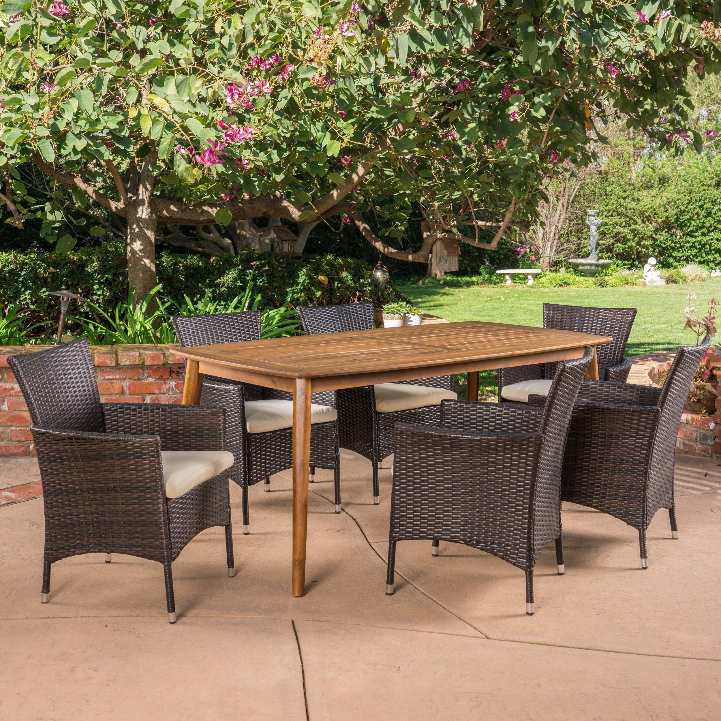 Shop Jaxon Outdoor 7 Piece Multibrown Pe Wicker Dining Set With With Regard To Recent Jaxon Grey Rectangle Extension Dining Tables (Image 19 of 20)