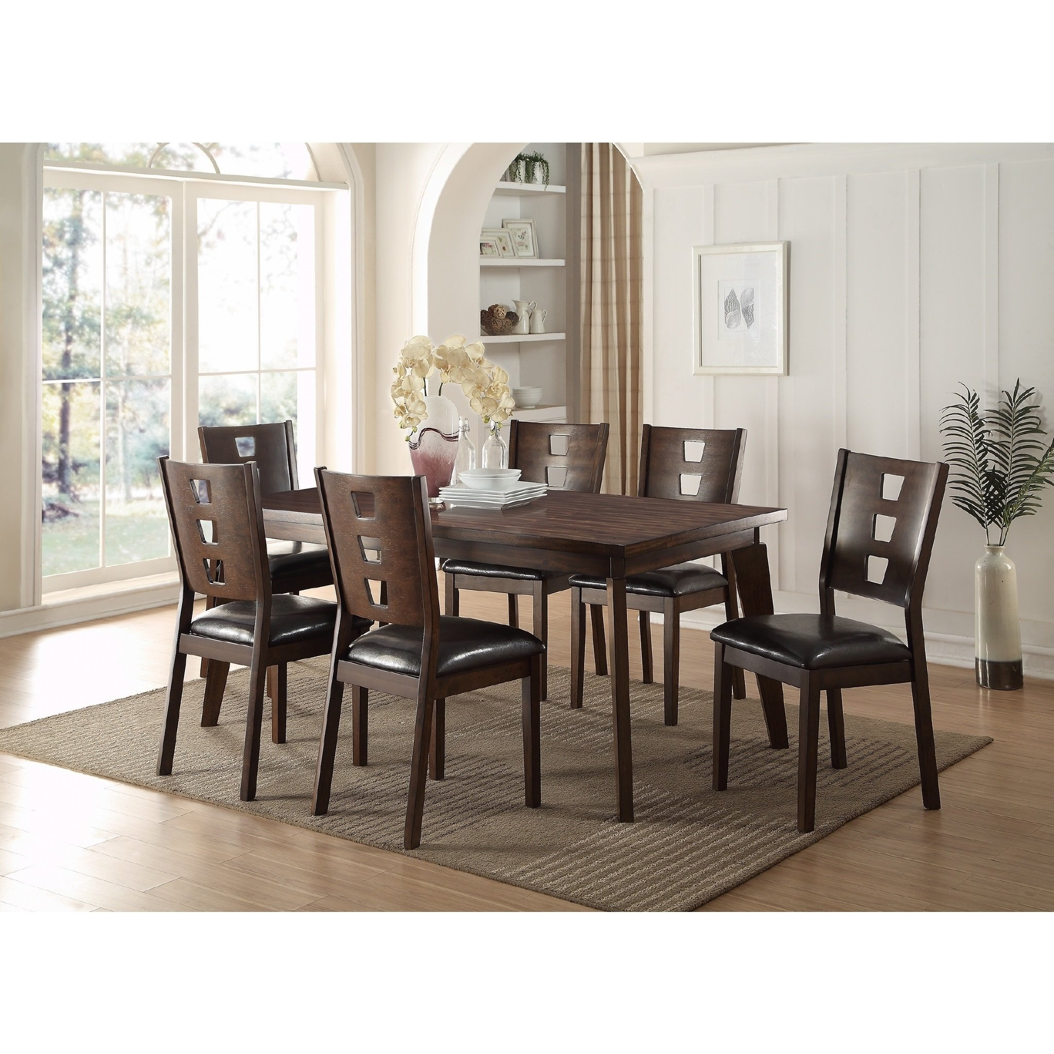 Shop Joey 7 Piece Dining Set – Free Shipping Today – Overstock With Latest Caira Black 5 Piece Round Dining Sets With Upholstered Side Chairs (Image 17 of 20)