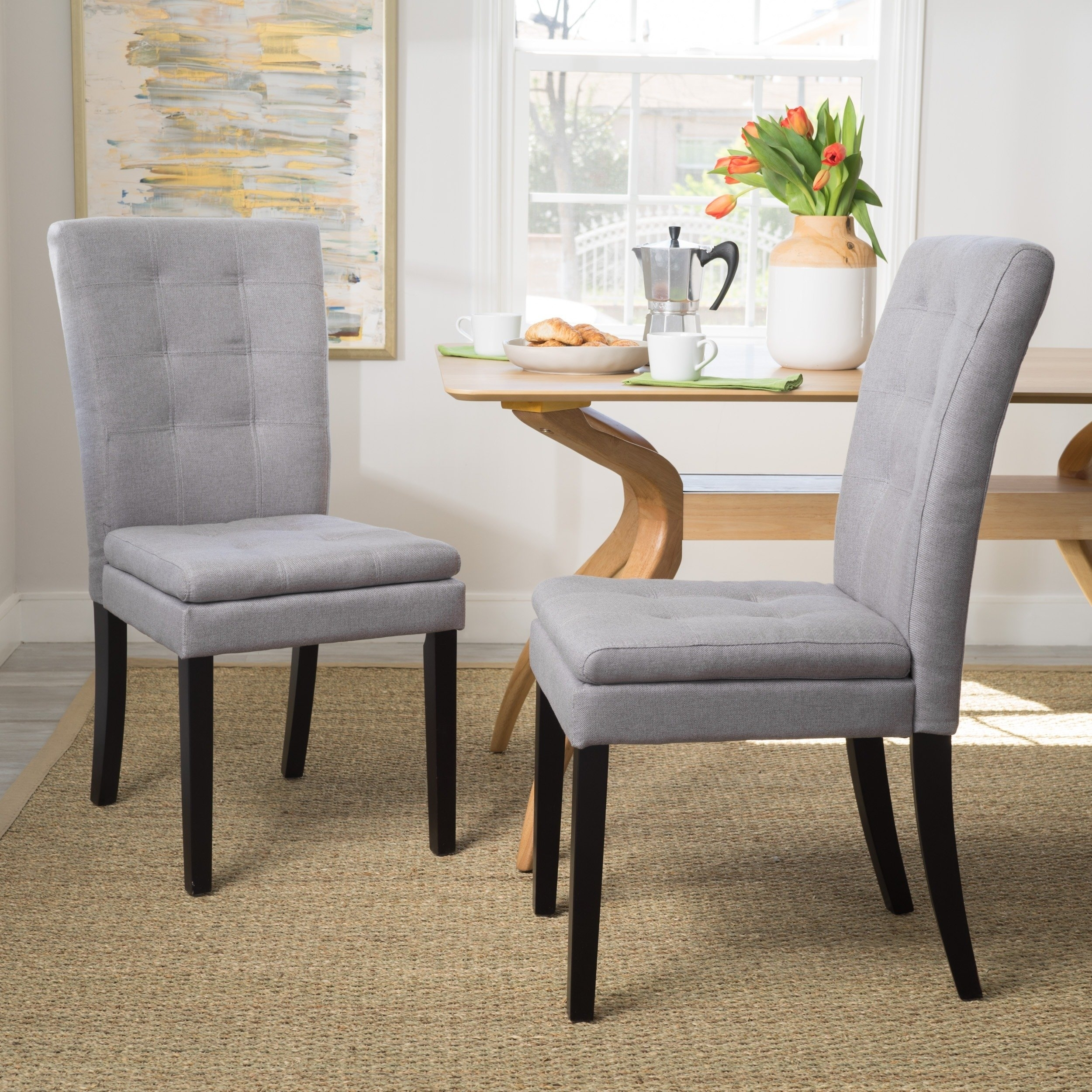 Shop Kailah Tufted Fabric Dining Chairchristopher Knight Home For 2017 Caira 7 Piece Rectangular Dining Sets With Diamond Back Side Chairs (Image 15 of 20)