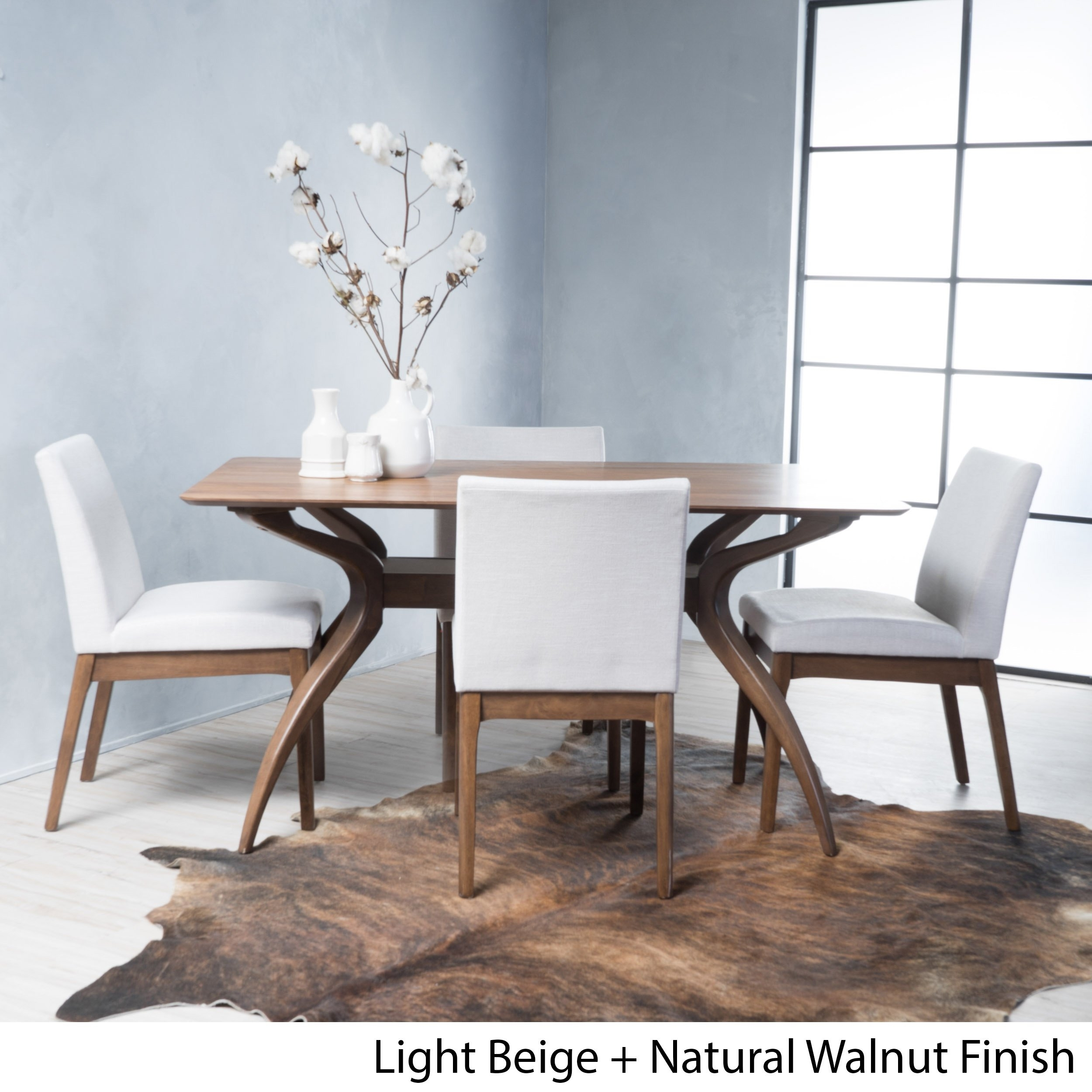 Shop Kwame Mid Century 5 Piece Rectangle Dining Setchristopher For Most Recently Released Laurent 5 Piece Round Dining Sets With Wood Chairs (Image 14 of 20)