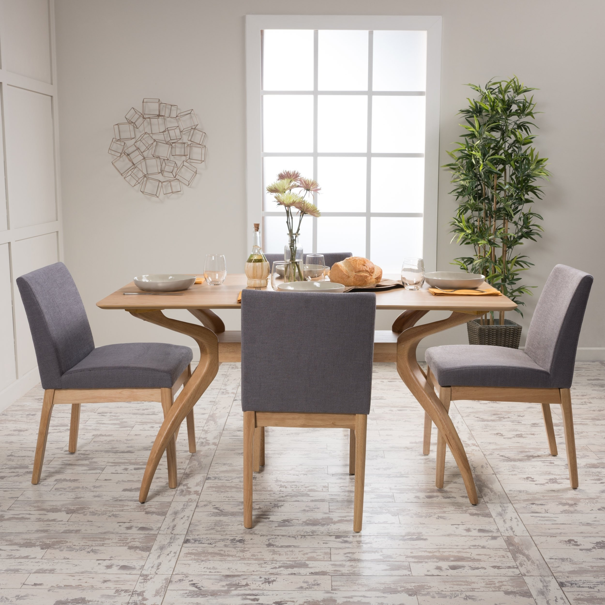 Shop Kwame Mid Century 5 Piece Rectangle Dining Setchristopher Inside Most Current Laurent 5 Piece Round Dining Sets With Wood Chairs (View 6 of 20)