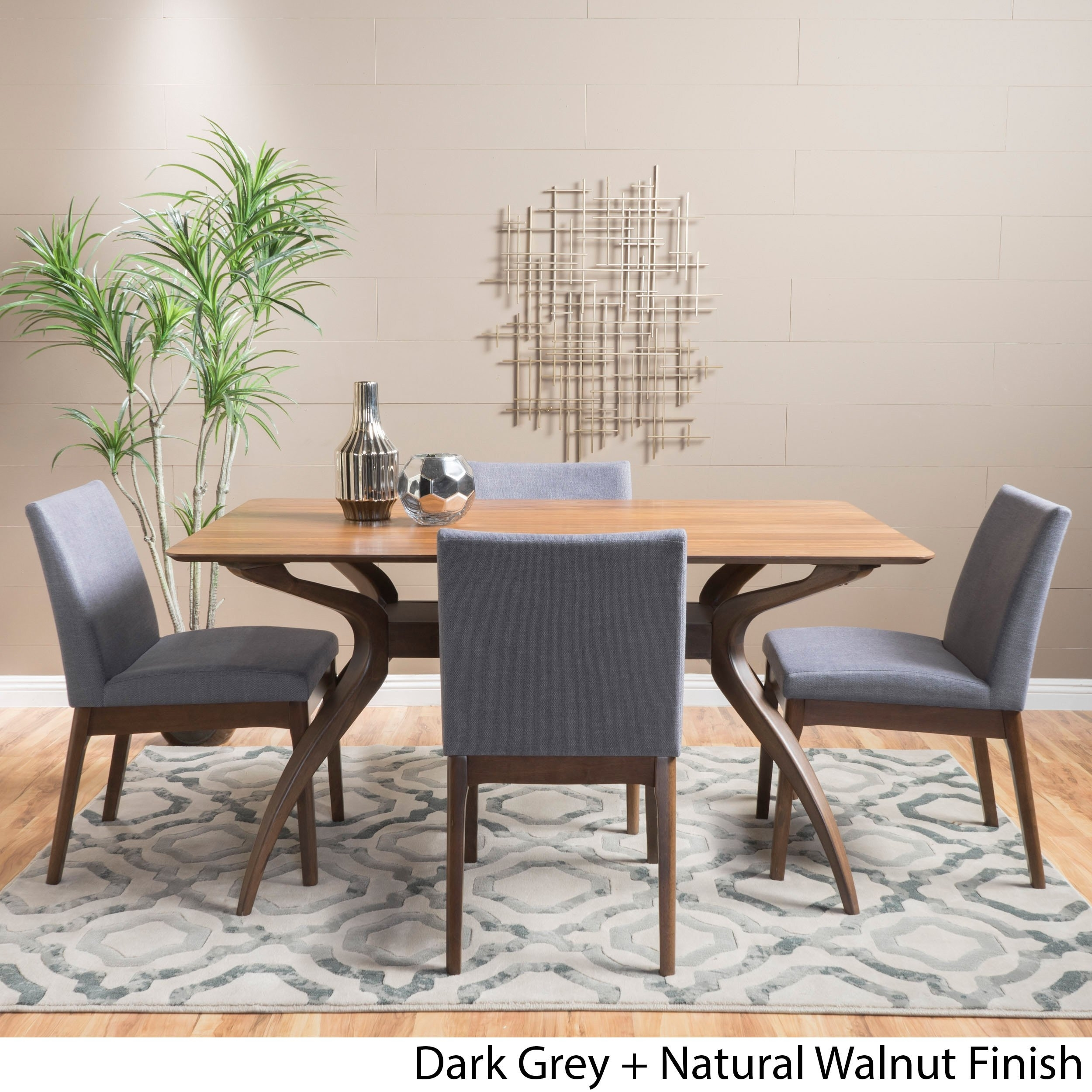 Shop Kwame Mid Century 5 Piece Rectangle Dining Setchristopher Regarding Current Laurent 5 Piece Round Dining Sets With Wood Chairs (Image 16 of 20)