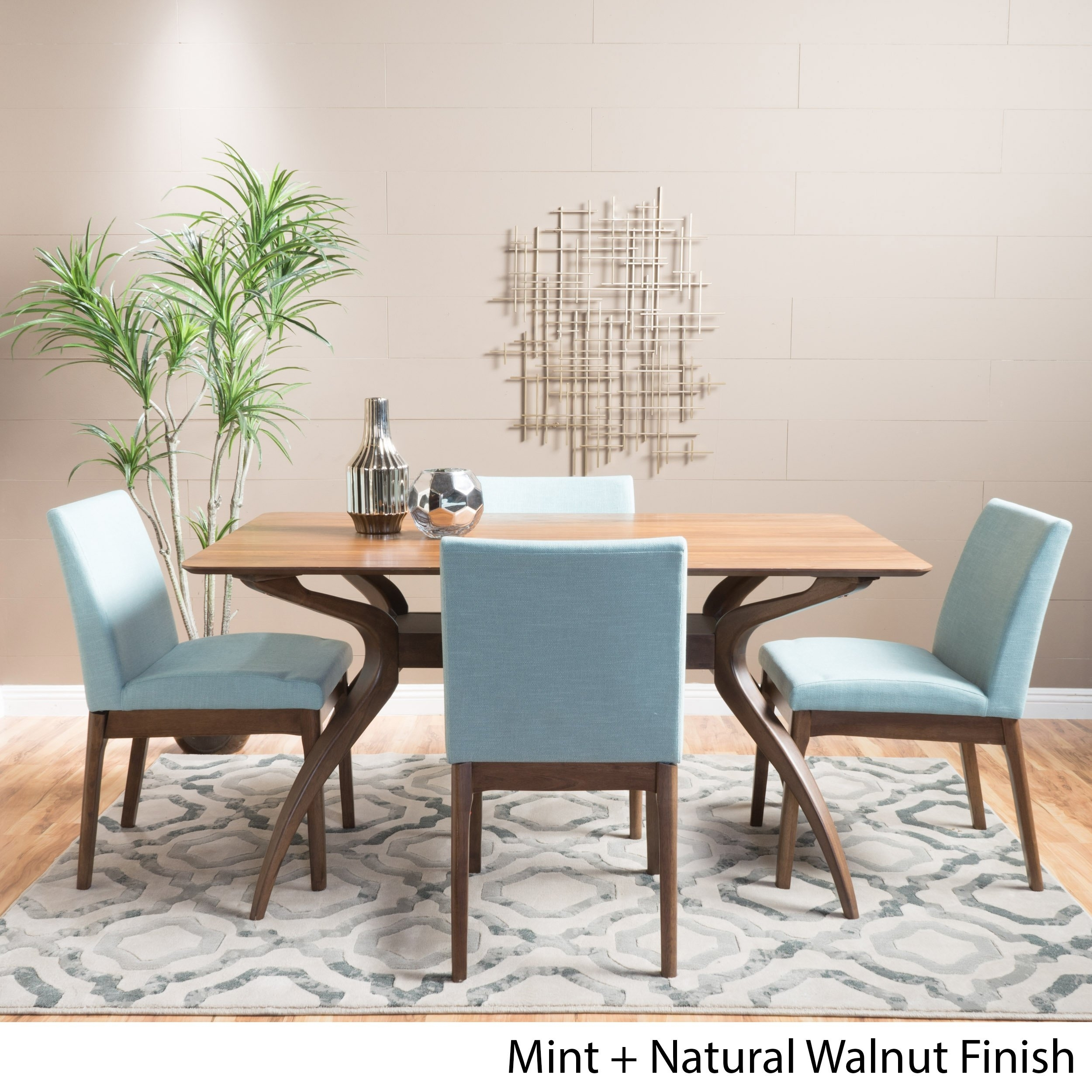 Shop Kwame Mid Century 5 Piece Rectangle Dining Setchristopher With Regard To Newest Laurent 5 Piece Round Dining Sets With Wood Chairs (View 16 of 20)