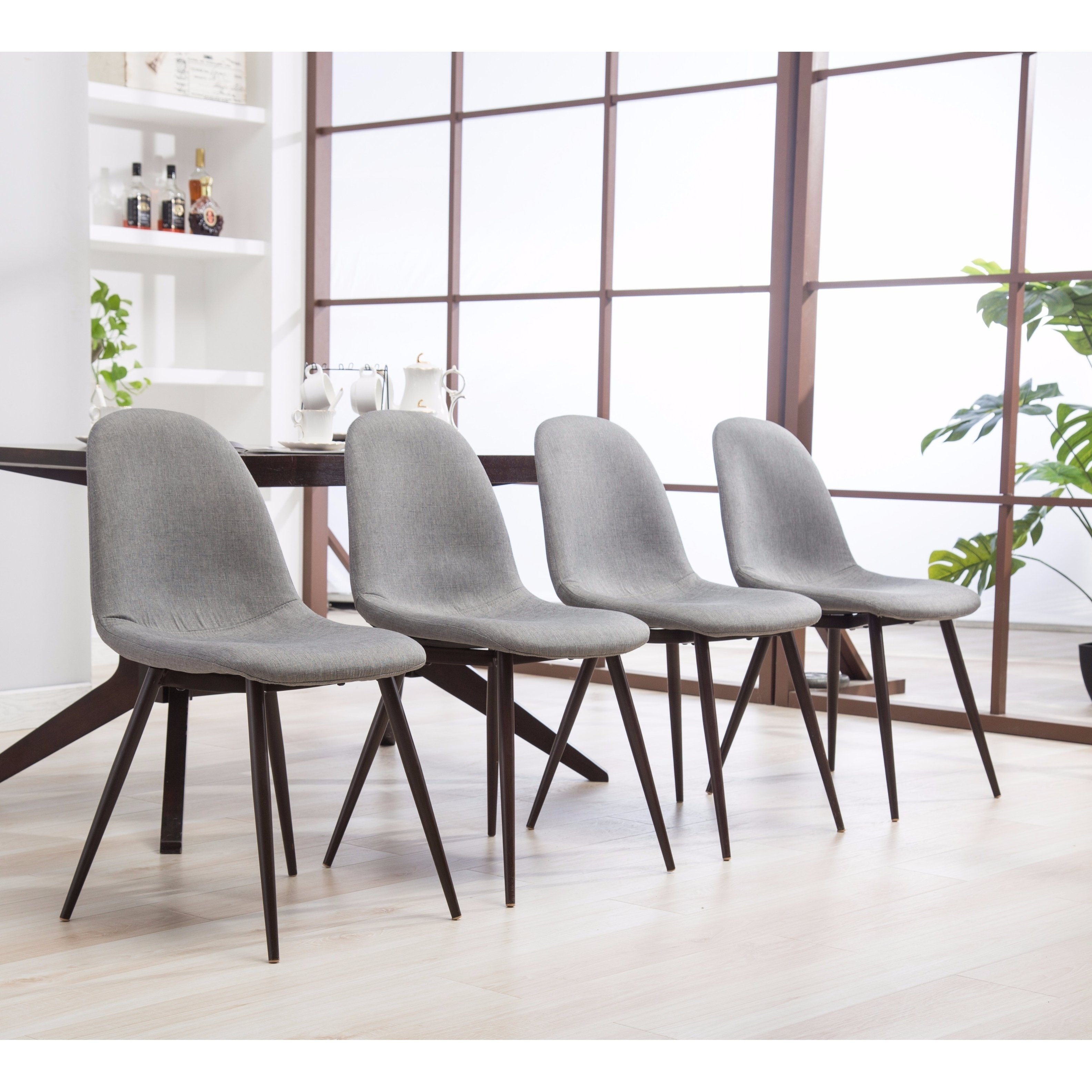 Shop Lassan Modern Contemporary Blue Fabric Dining Chairs, Set Of 4 With Latest Caden 7 Piece Dining Sets With Upholstered Side Chair (View 10 of 20)