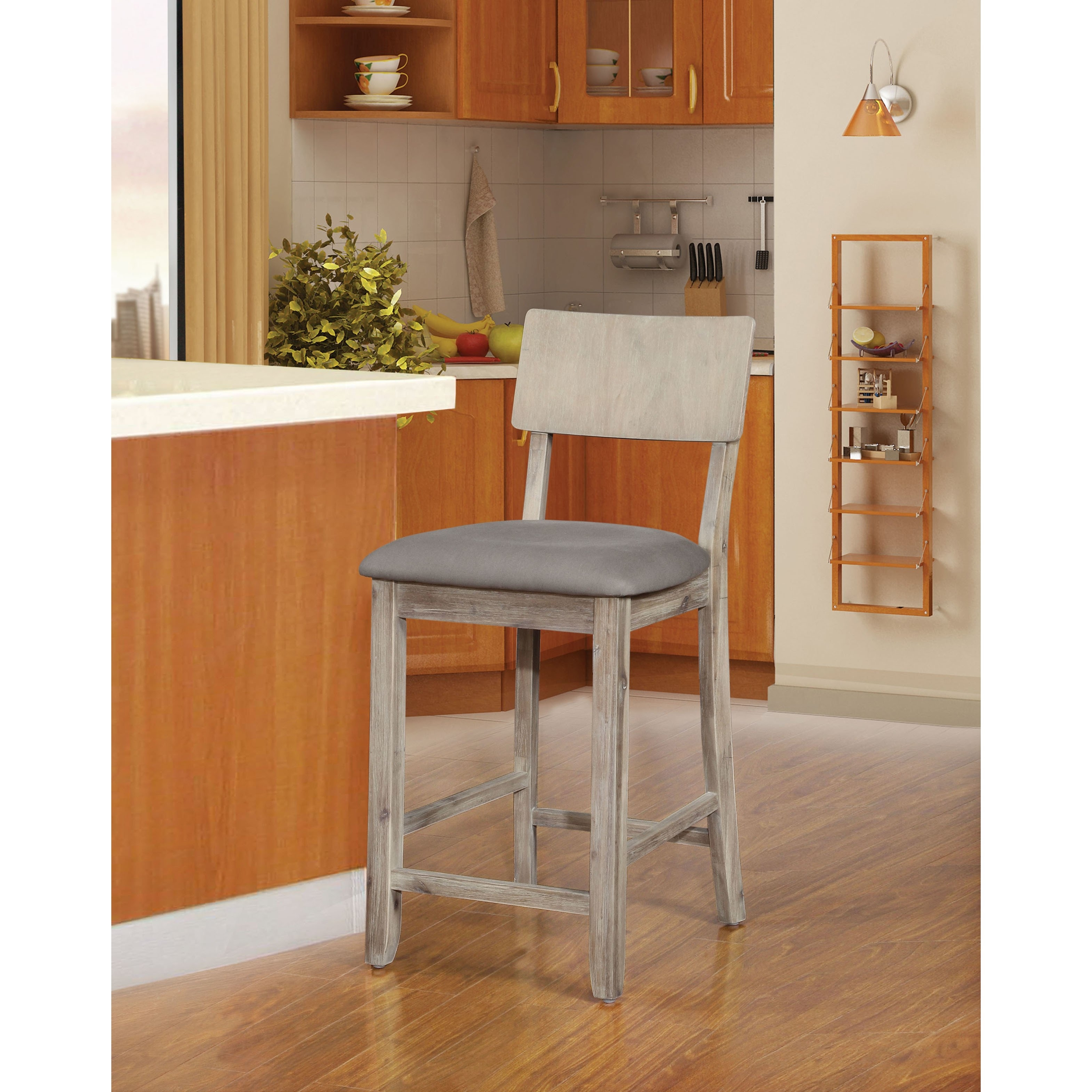 Shop Loren Gray Wash Counter Stool – On Sale – Free Shipping Today For Most Recent Laurent 7 Piece Counter Sets With Upholstered Counterstools (View 11 of 20)