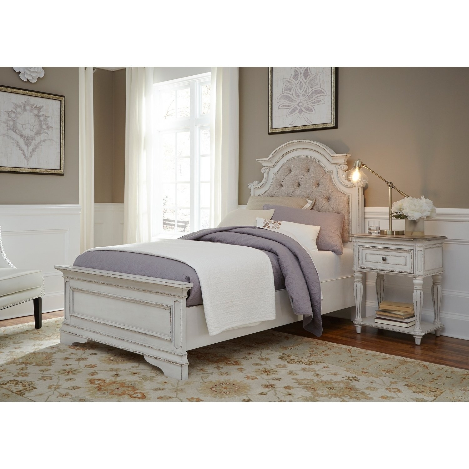 Shop Magnolia Home Antique White Upholstered Bed – On Sale – Free For Most Current Magnolia Home White Keeping 96 Inch Dining Tables (Image 18 of 20)