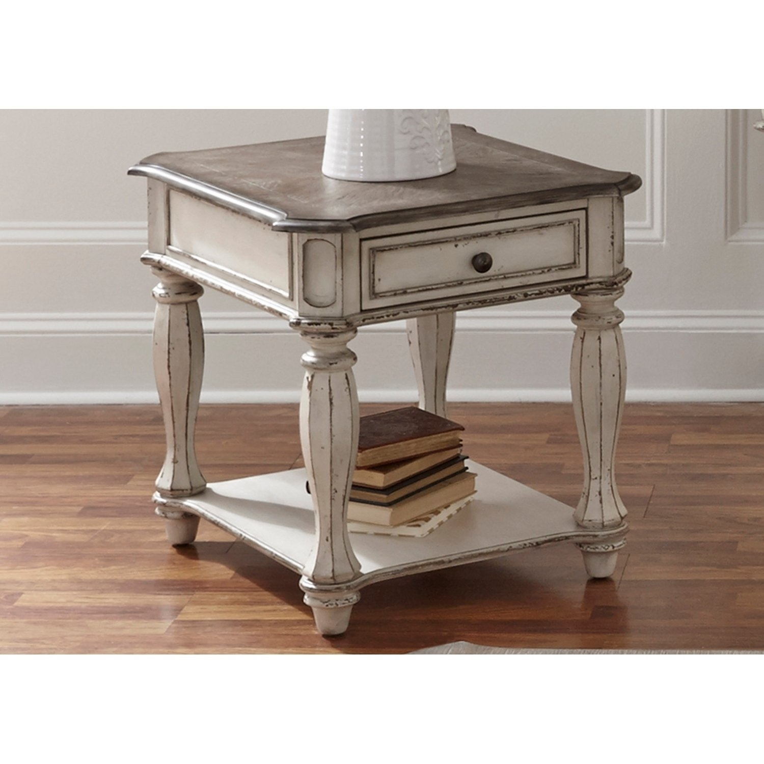 Shop Magnolia Manor Antique White End Table – On Sale – Free With Regard To Most Recent Magnolia Home Top Tier Round Dining Tables (Image 16 of 20)
