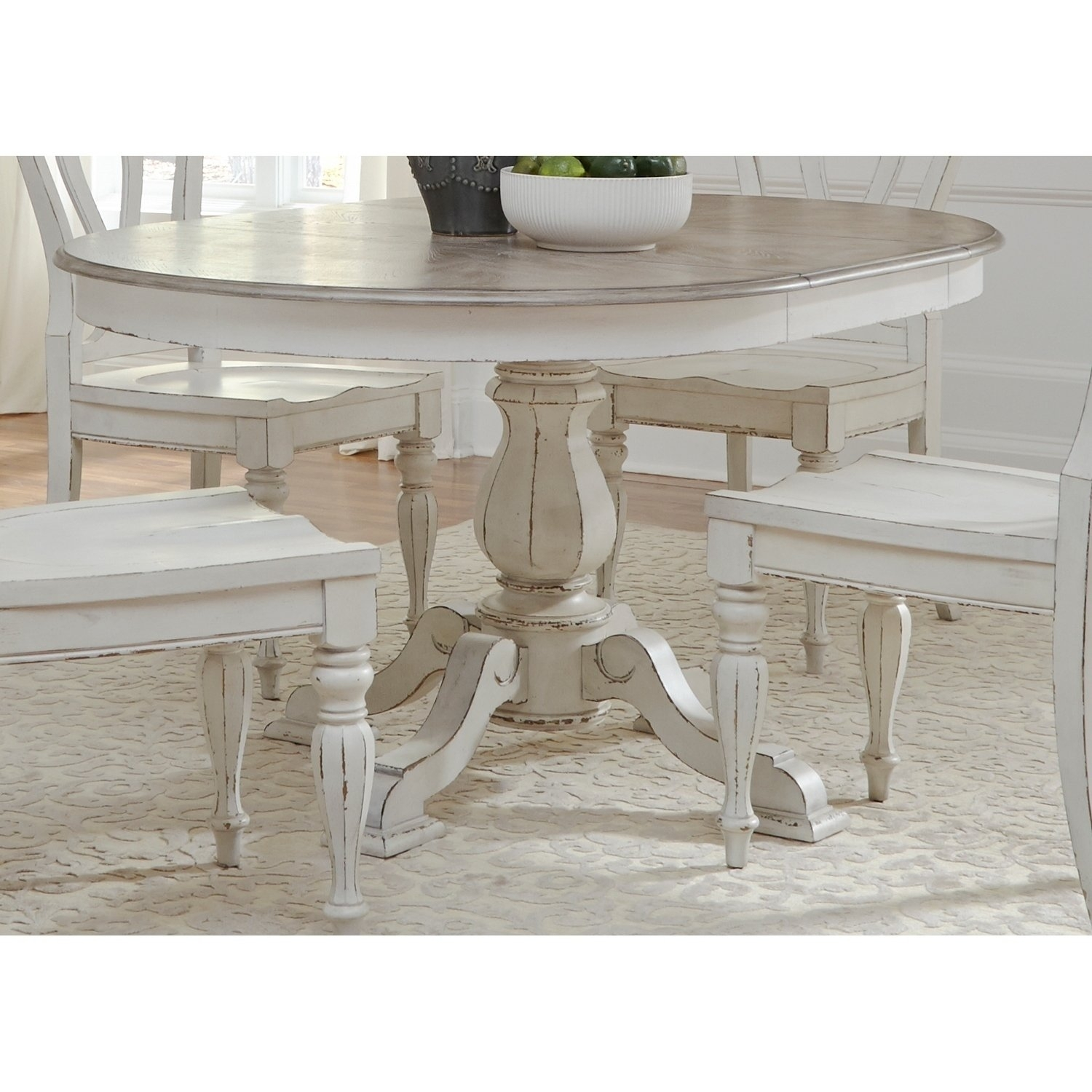 Shop Magnolia Manor Antique White Pedestal Table – Antique White Inside Latest Magnolia Home English Country Oval Dining Tables (Image 19 of 20)