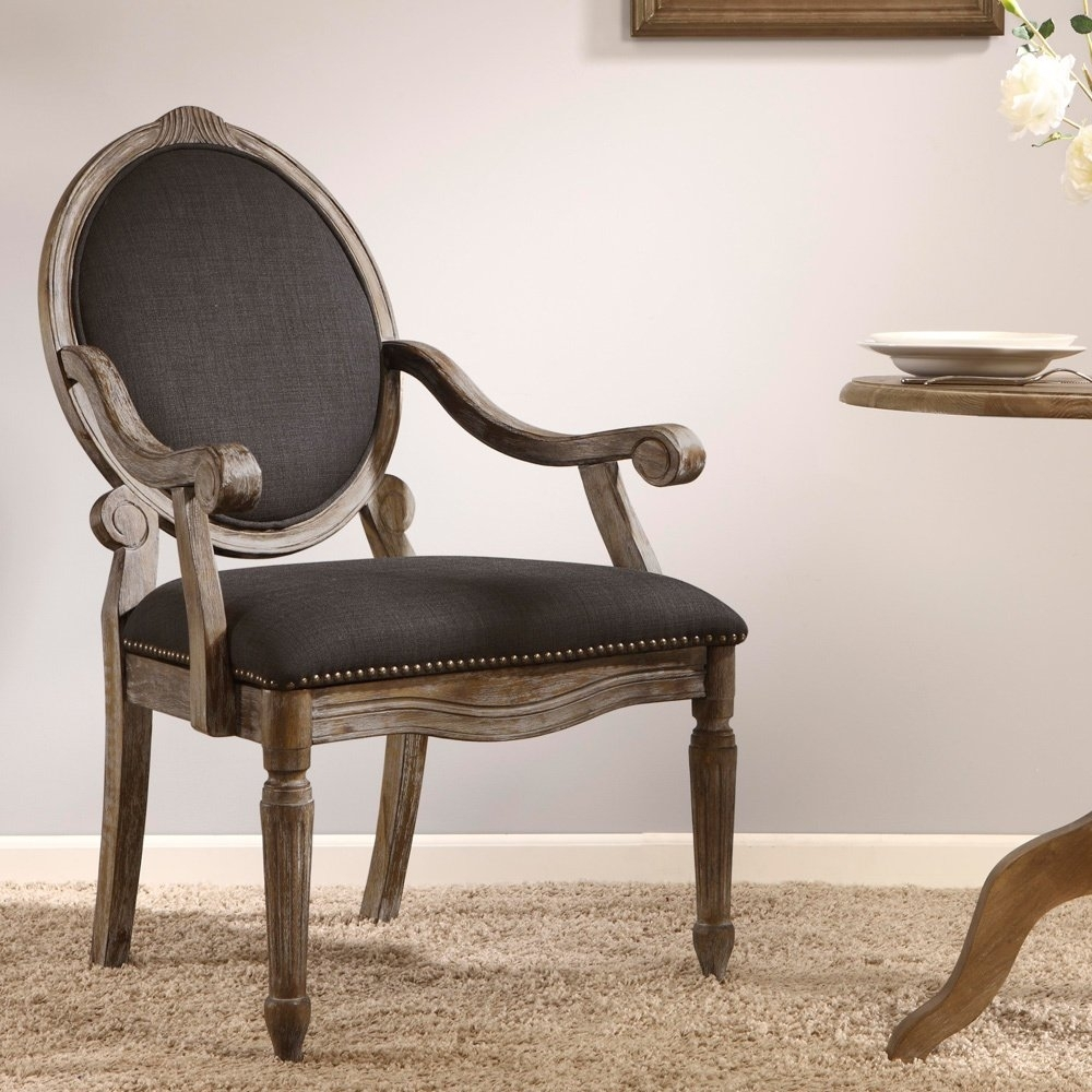 Shop Maison Rouge Brentwood Grey Dining Armchair – Free Shipping Pertaining To Newest Caira Black 7 Piece Dining Sets With Arm Chairs & Diamond Back Chairs (View 15 of 20)