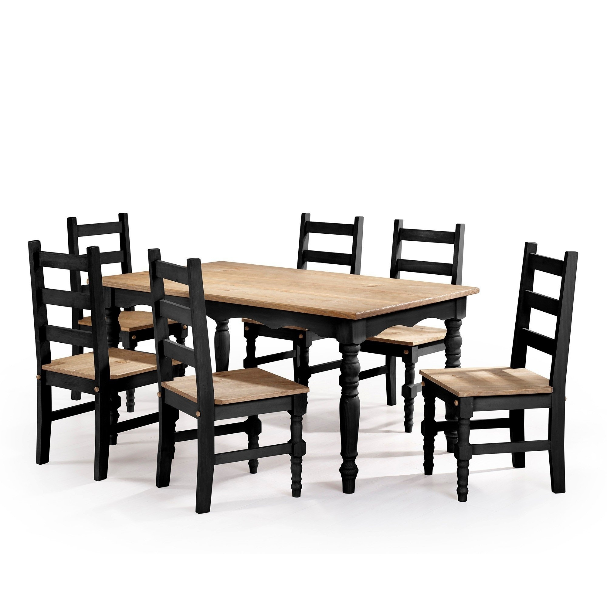 Shop Manhattan Comfort Jay 7 Piece Solid Wood Dining Set With 6 Inside 2017 Helms 7 Piece Rectangle Dining Sets With Side Chairs (Image 13 of 20)