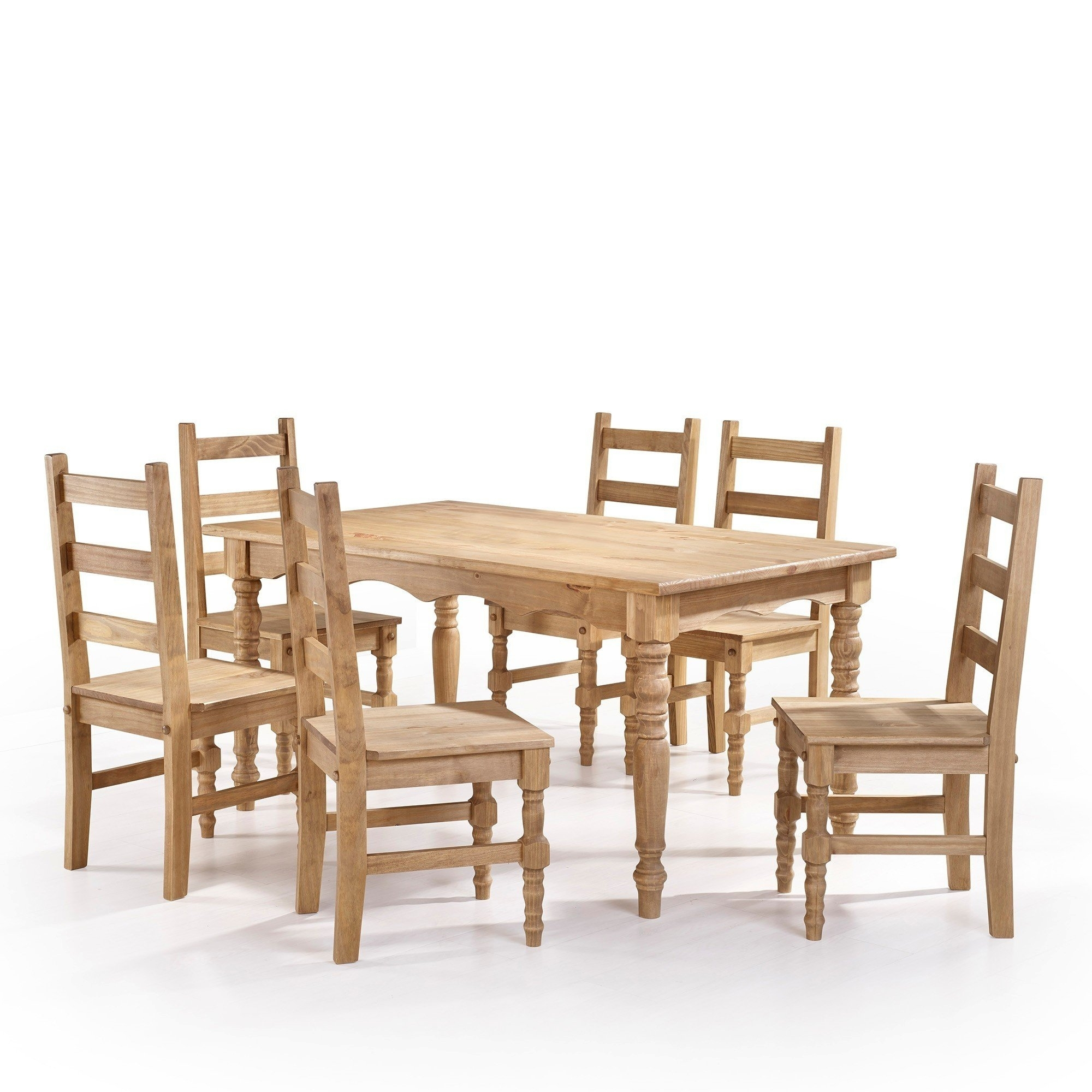 Shop Manhattan Comfort Jay 7 Piece Solid Wood Dining Set With 6 Inside 2018 Helms 6 Piece Rectangle Dining Sets With Side Chairs (View 14 of 20)