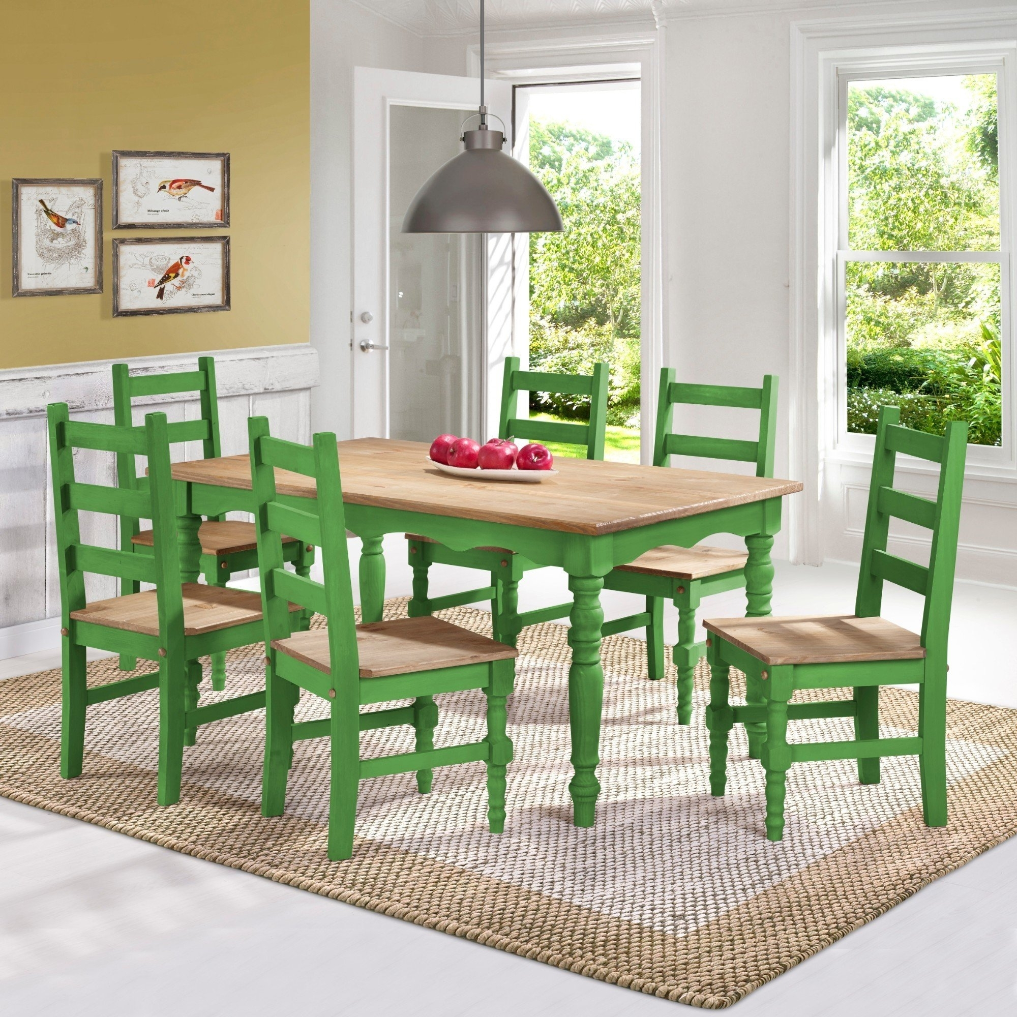 Shop Manhattan Comfort Jay 7 Piece Solid Wood Dining Set With 6 With Regard To Most Recent Helms 7 Piece Rectangle Dining Sets (Image 13 of 20)