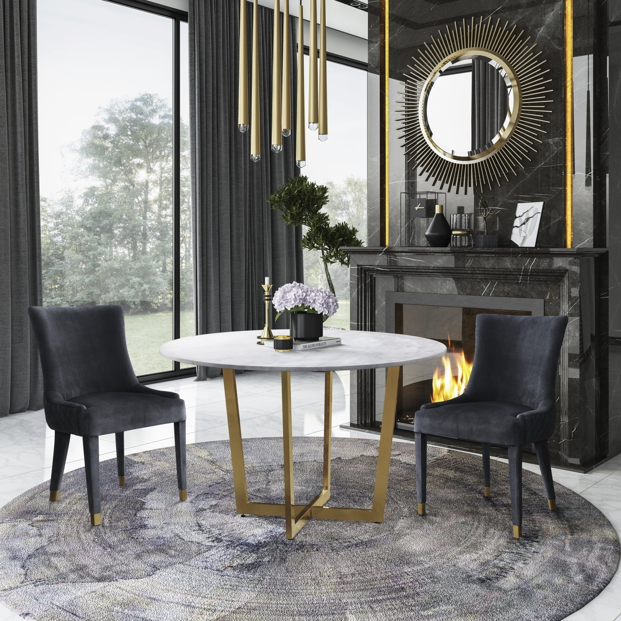 Shop Maxim Marble Dining Table With Diamond Grey Dining Chair  5 With Regard To Most Current Rocco 7 Piece Extension Dining Sets (Image 18 of 20)