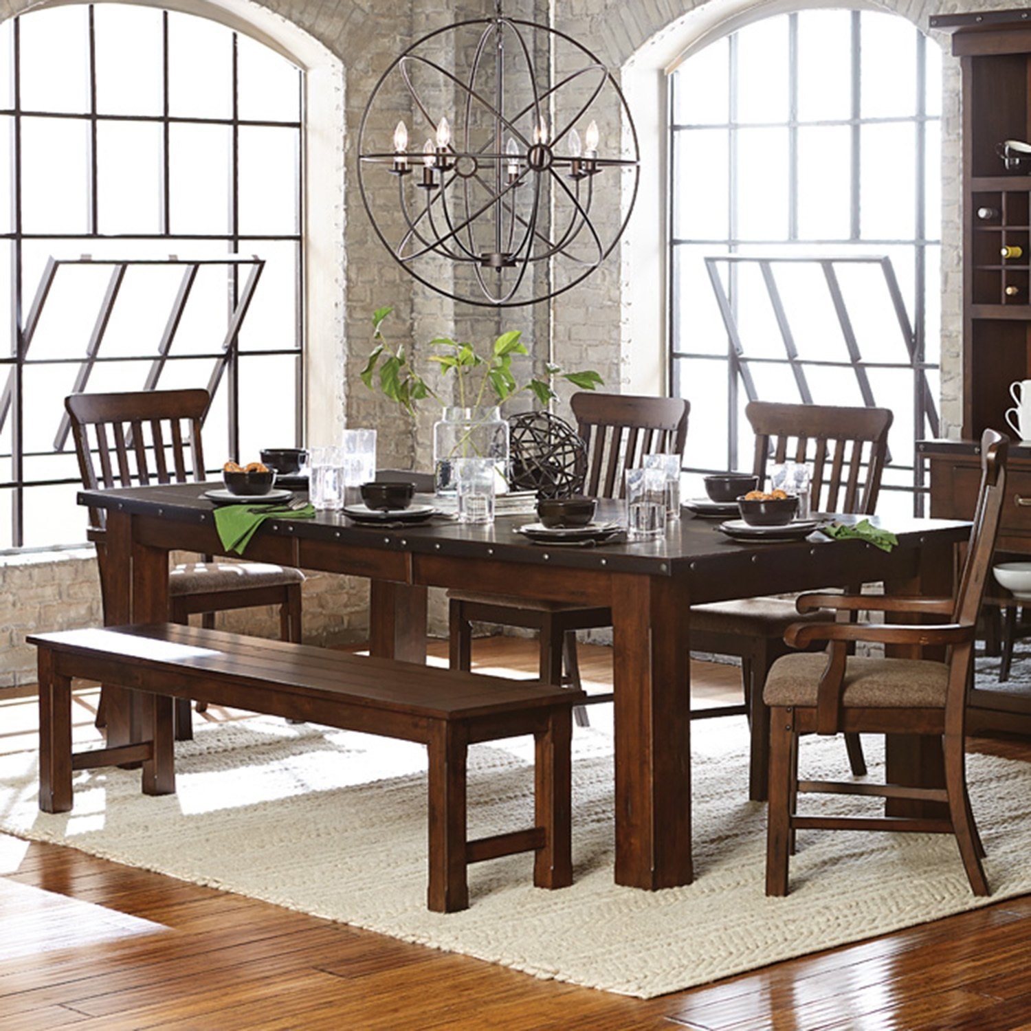 Shop Norwood Antique Oak Finish Extending Table Dining Set – Free Regarding Most Current Norwood 7 Piece Rectangular Extension Dining Sets With Bench & Uph Side Chairs (Image 16 of 20)
