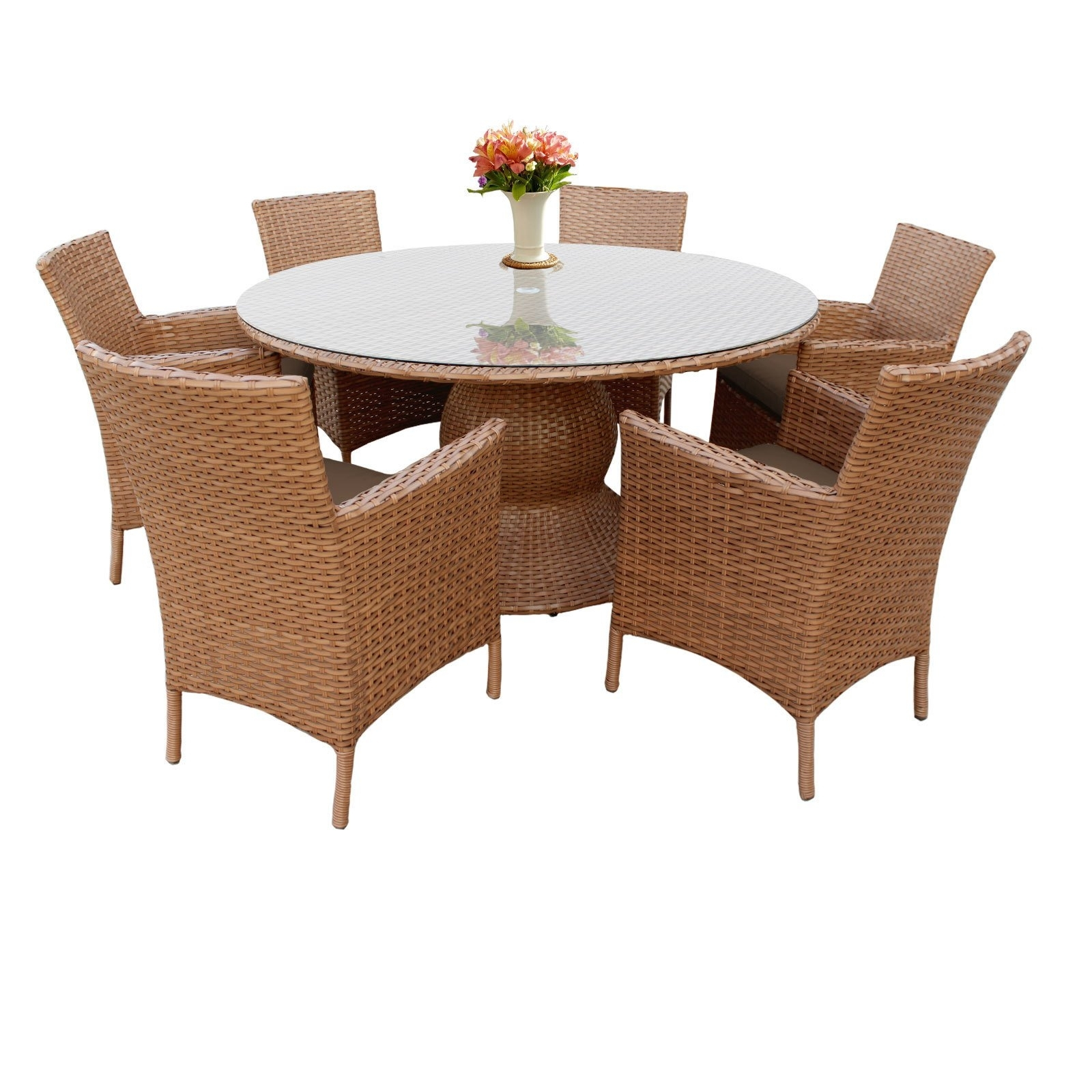 Shop Outdoor Home Bayou Wicker 60 Inch Outdoor Patio Dining Table Intended For Latest Valencia 72 Inch 7 Piece Dining Sets (View 18 of 20)