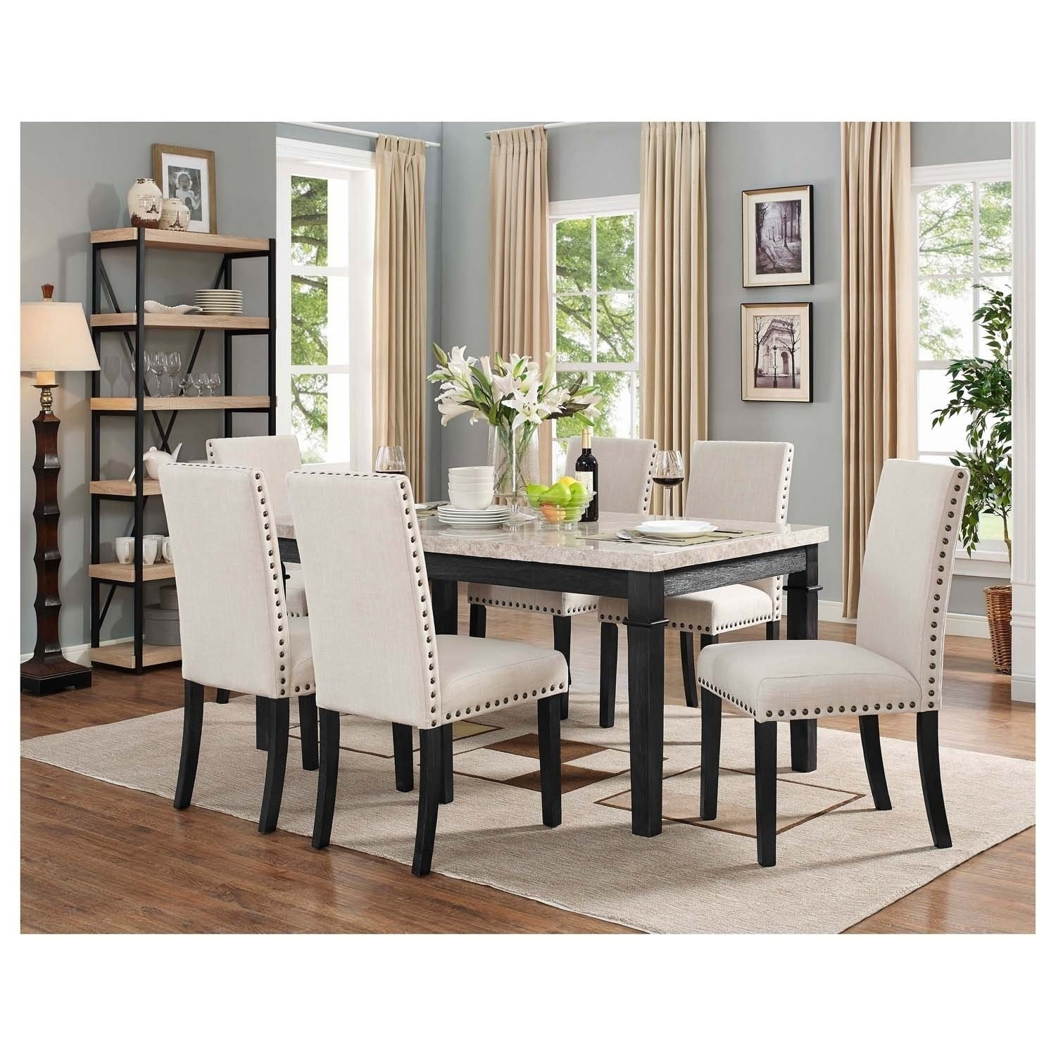 Shop Picket House Furnishings Bradley 7Pc Dining Set Table & 6 Intended For Most Up To Date Gavin 7 Piece Dining Sets With Clint Side Chairs (Image 18 of 20)