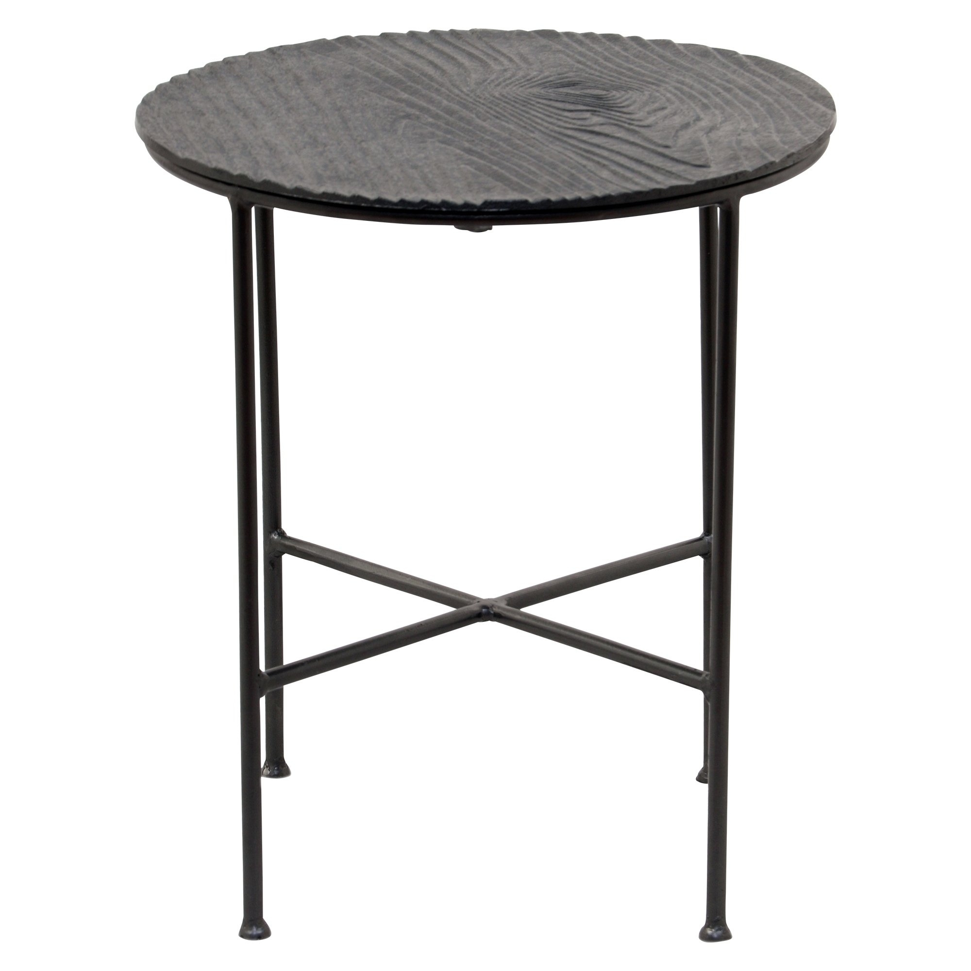 Shop Renwil Bale Grey Aluminum Round Accent Table – Free Shipping Within Most Current Bale Rustic Grey Dining Tables (Image 18 of 20)