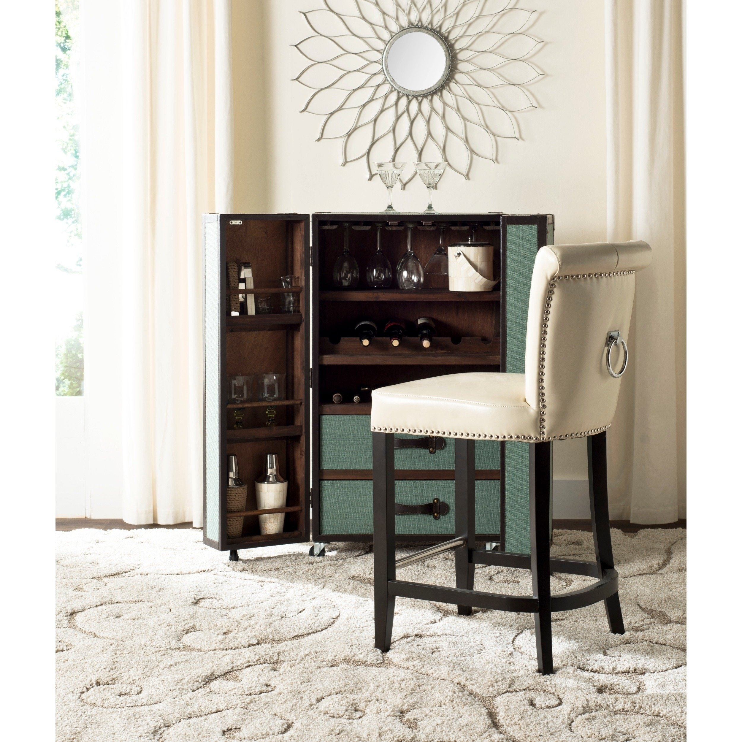 Shop Safavieh Addo Flat Cream Ring Counterstool – Free Shipping Within Most Up To Date Laurent 7 Piece Counter Sets With Upholstered Counterstools (View 17 of 20)