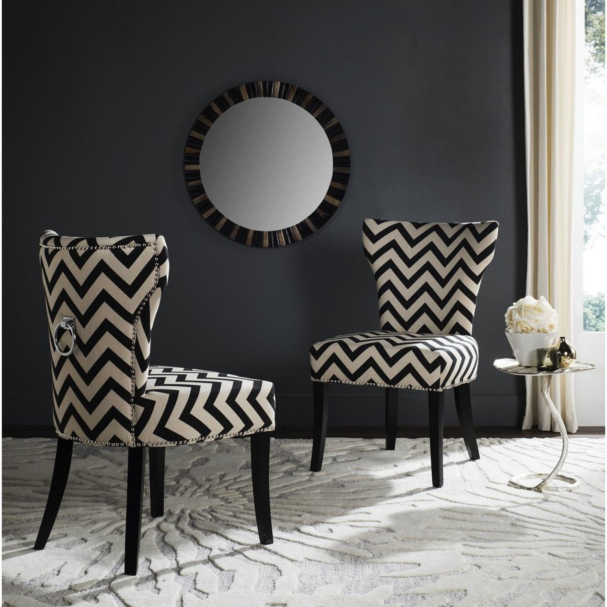 Shop Safavieh En Vogue Dining Jappic Chevron Black/white Ring Dining Regarding 2017 Caira Black 7 Piece Dining Sets With Upholstered Side Chairs (Image 20 of 20)