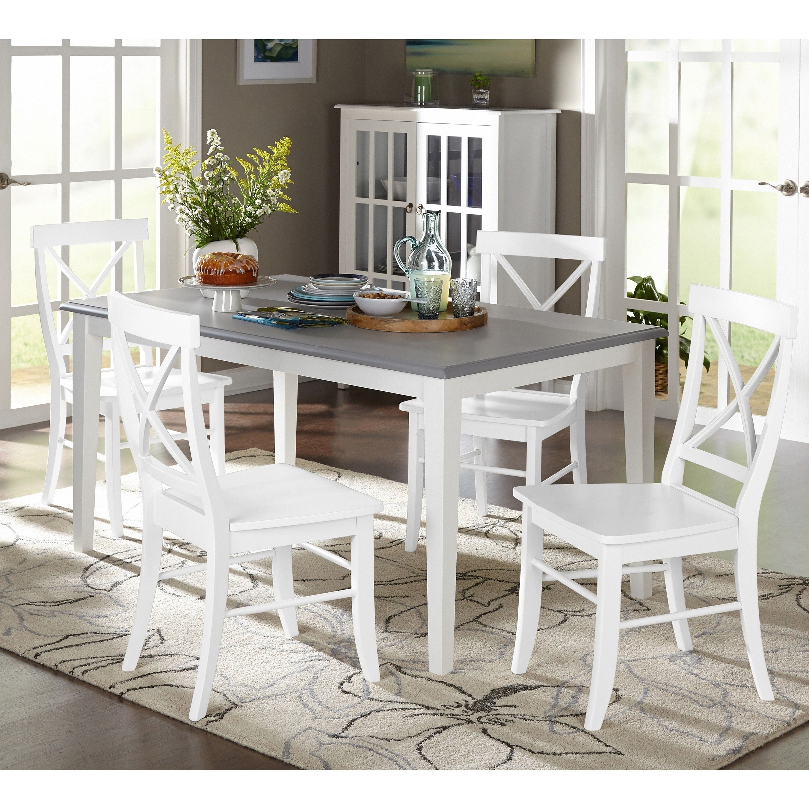 Shop Simple Living 5 Piece Helena Dining Set – Free Shipping Today Intended For Most Up To Date Laurent 5 Piece Round Dining Sets With Wood Chairs (View 8 of 20)
