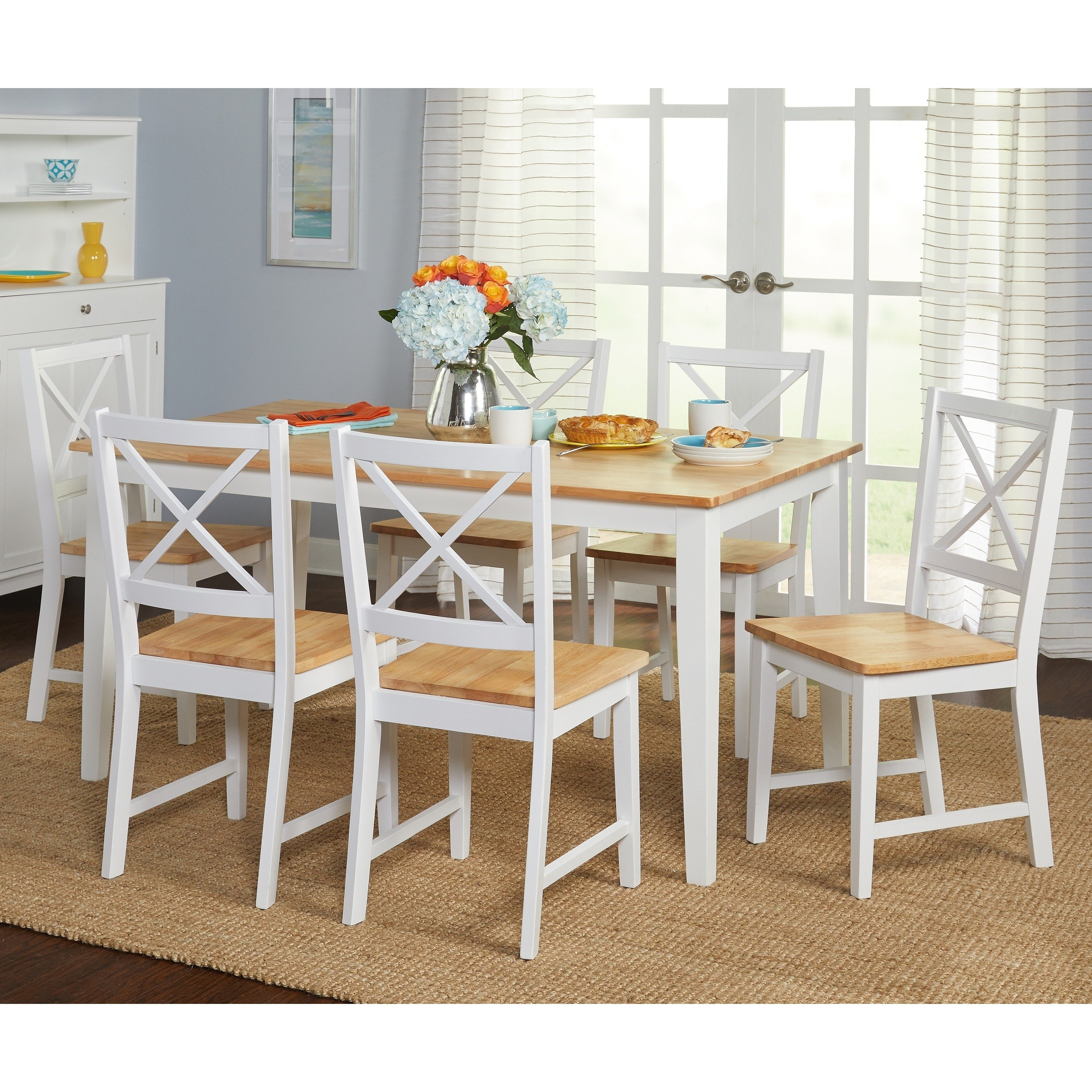 Shop Simple Living Crossback White/ Natural 7 Piece Dining Set Inside Recent Cora 5 Piece Dining Sets (Image 19 of 20)
