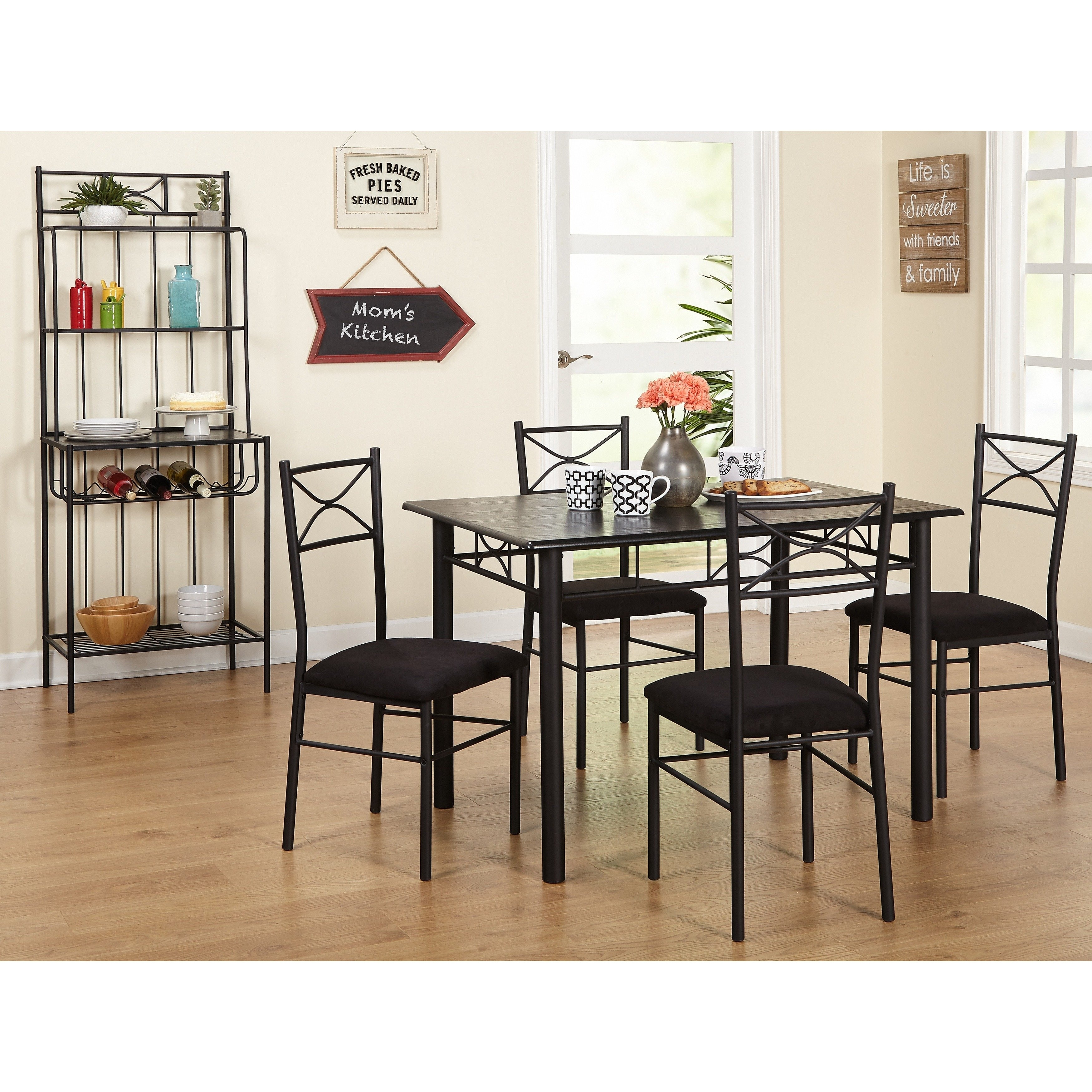 Shop Simple Living Valencia 6 Piece Metal Dining Set With Baker's Regarding Recent Valencia 3 Piece Counter Sets With Bench (Image 11 of 20)