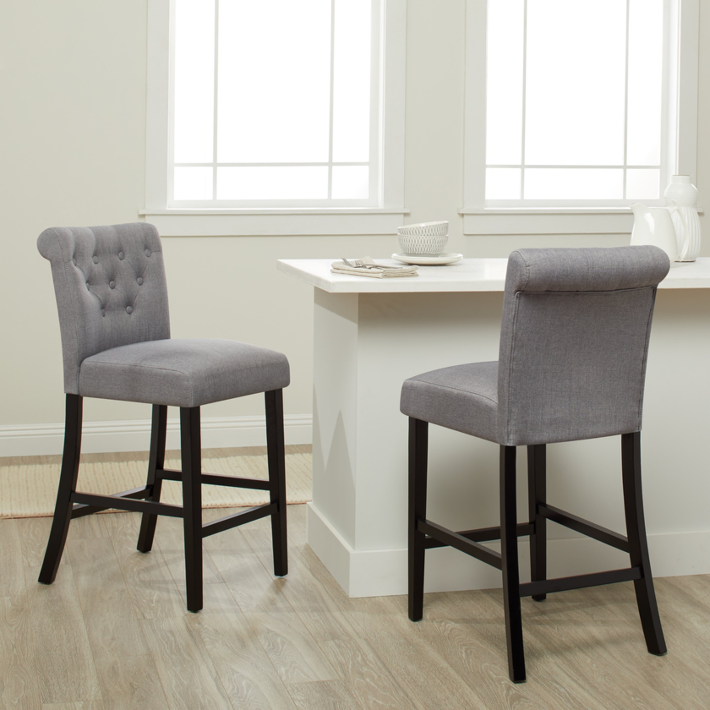 Shop Sopri Upholstered Counter Chairs (Set Of 2) – On Sale – Free Pertaining To Most Recently Released Laurent 7 Piece Counter Sets With Wood Counterstools (Image 10 of 20)