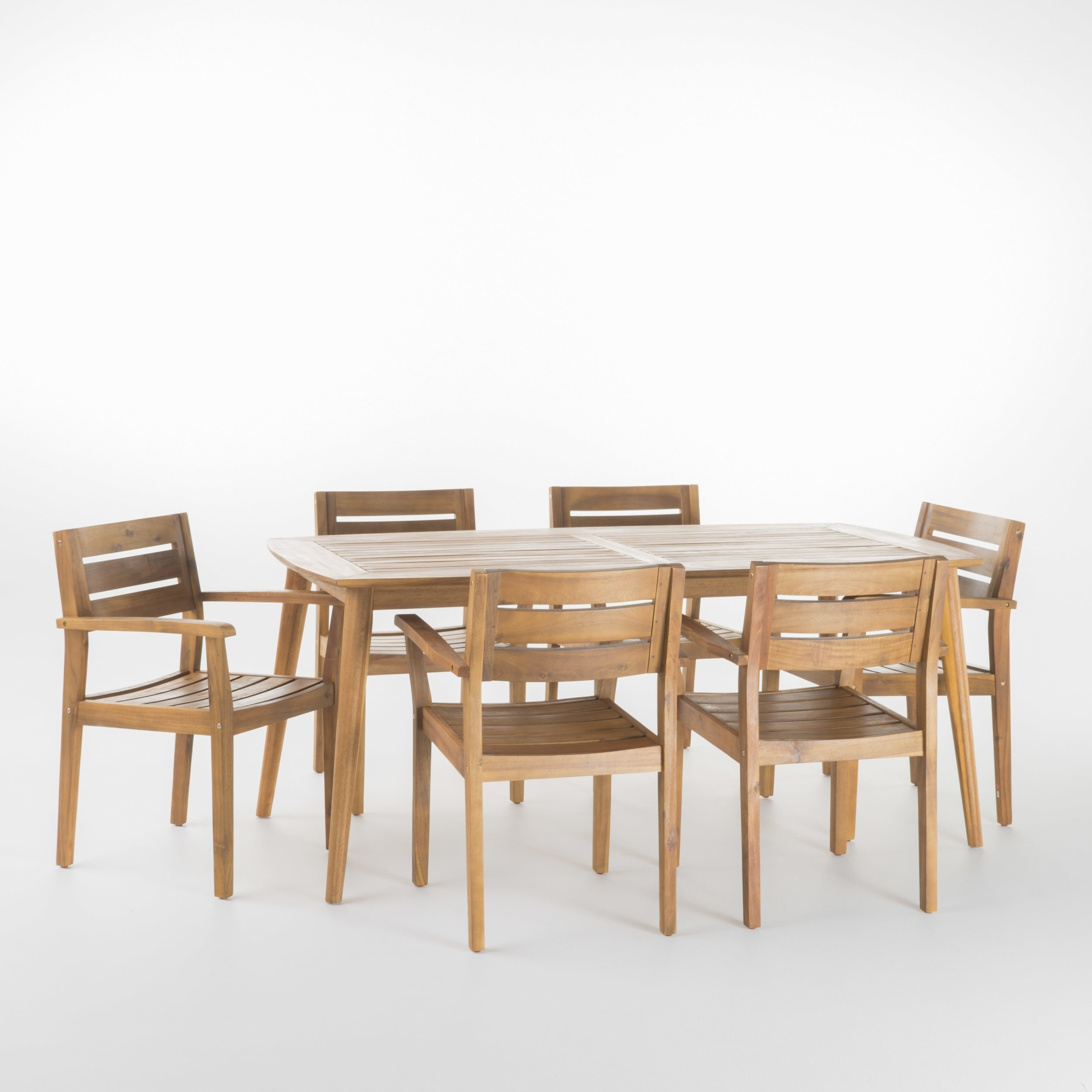 Shop Stamford Outdoor 7 Piece Rectangle Acacia Wood Dining Set Intended For Most Popular Laurent 7 Piece Rectangle Dining Sets With Wood And Host Chairs (Image 18 of 20)