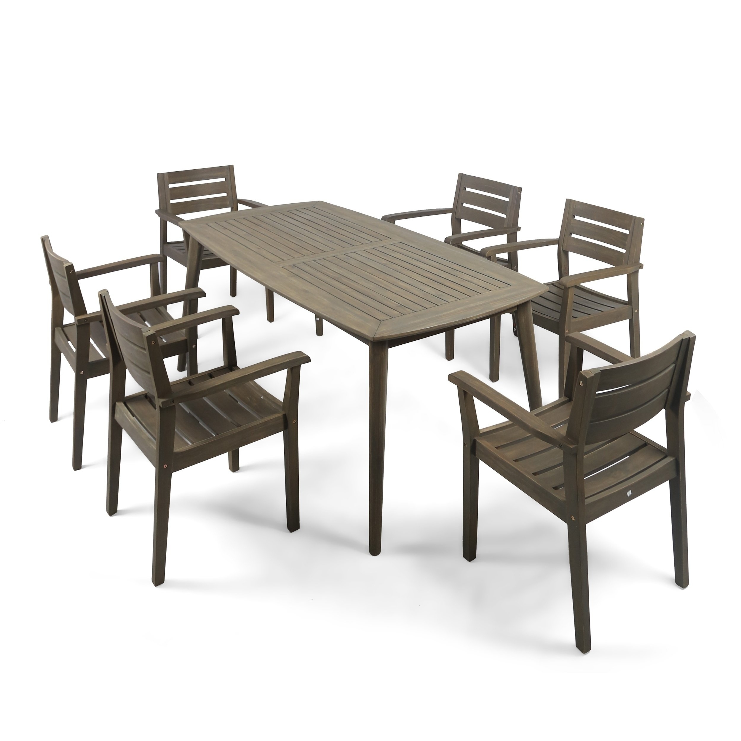 Shop Stamford Outdoor 7 Piece Rectangle Acacia Wood Dining Set Regarding Most Up To Date Laurent 7 Piece Rectangle Dining Sets With Wood And Host Chairs (Image 19 of 20)