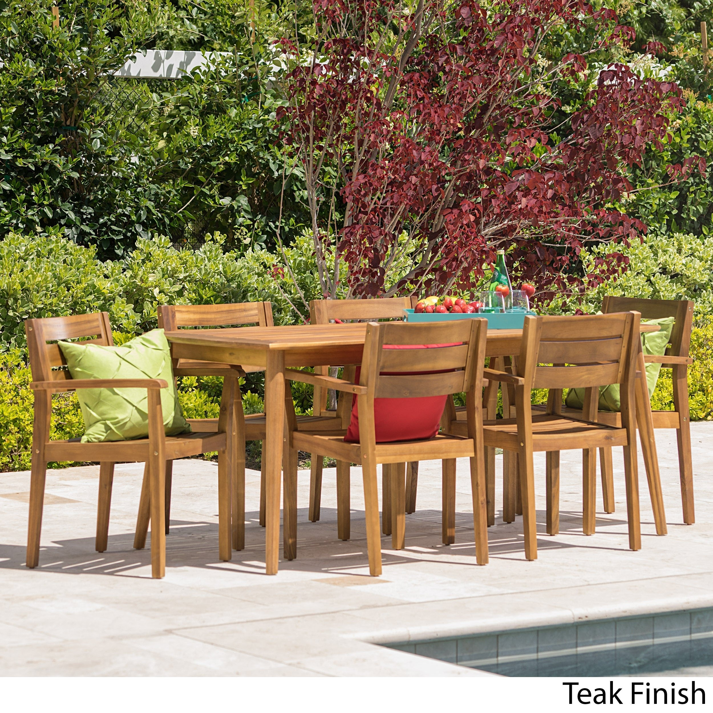 Shop Stamford Outdoor 7 Piece Rectangle Acacia Wood Dining Set Within Most Up To Date Laurent 7 Piece Rectangle Dining Sets With Wood And Host Chairs (Image 20 of 20)