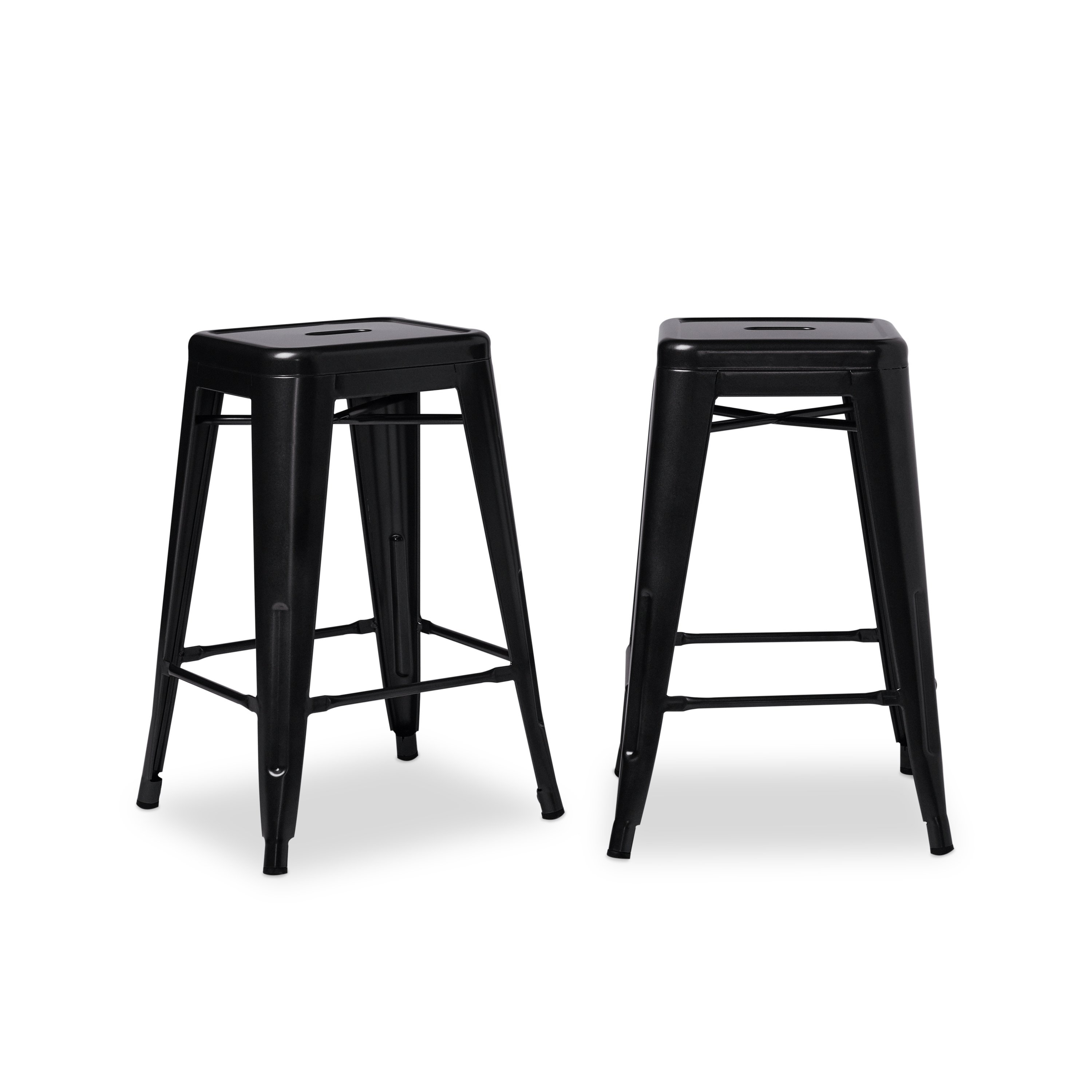 Shop Tabouret 24 Inch Black Metal Counter Stools (Set Of 2) – Free Intended For Recent Valencia 4 Piece Counter Sets With Bench & Counterstool (View 16 of 20)