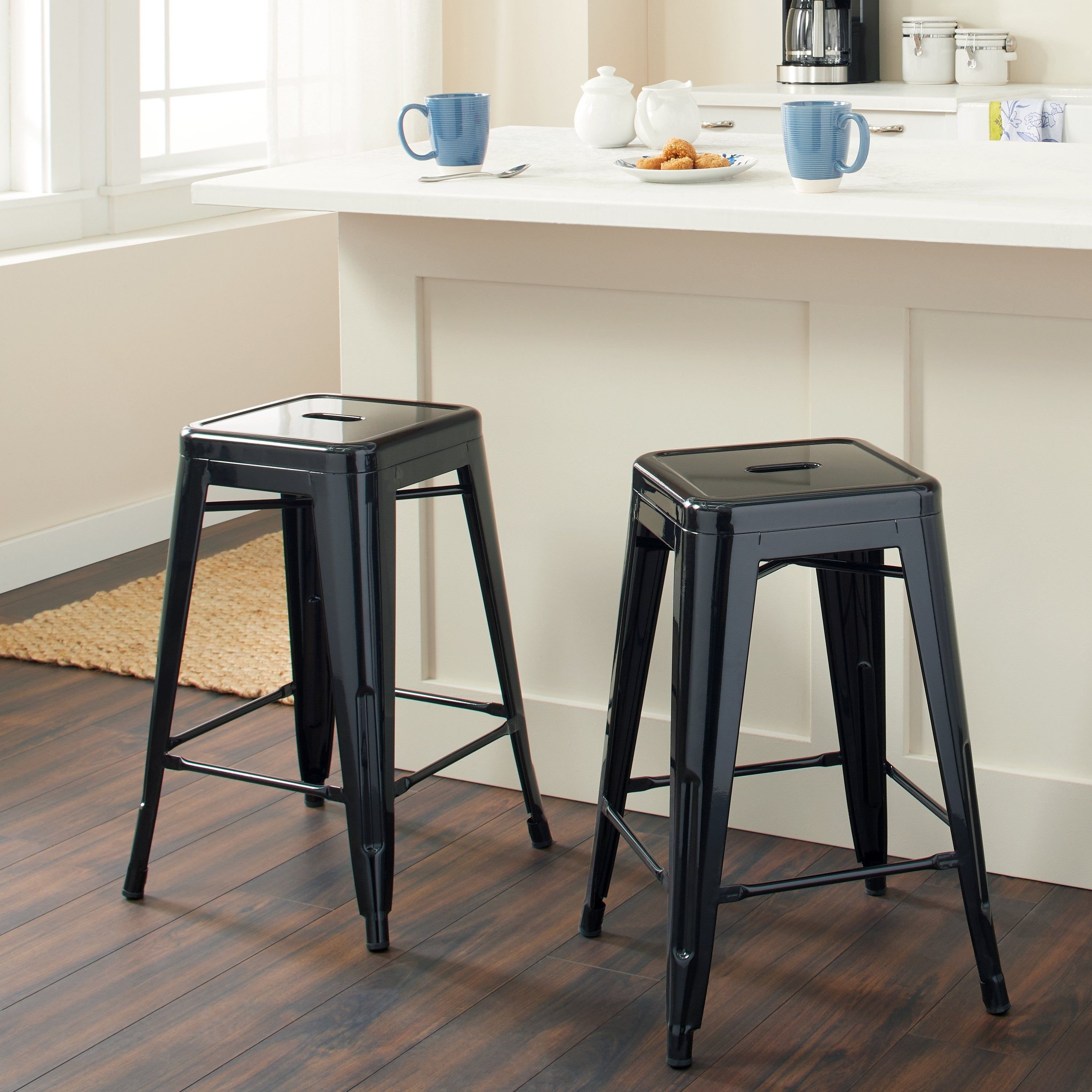 Shop Tabouret 24 Inch Black Metal Counter Stools (Set Of 2) – Free With Newest Valencia 4 Piece Counter Sets With Bench & Counterstool (Image 12 of 20)